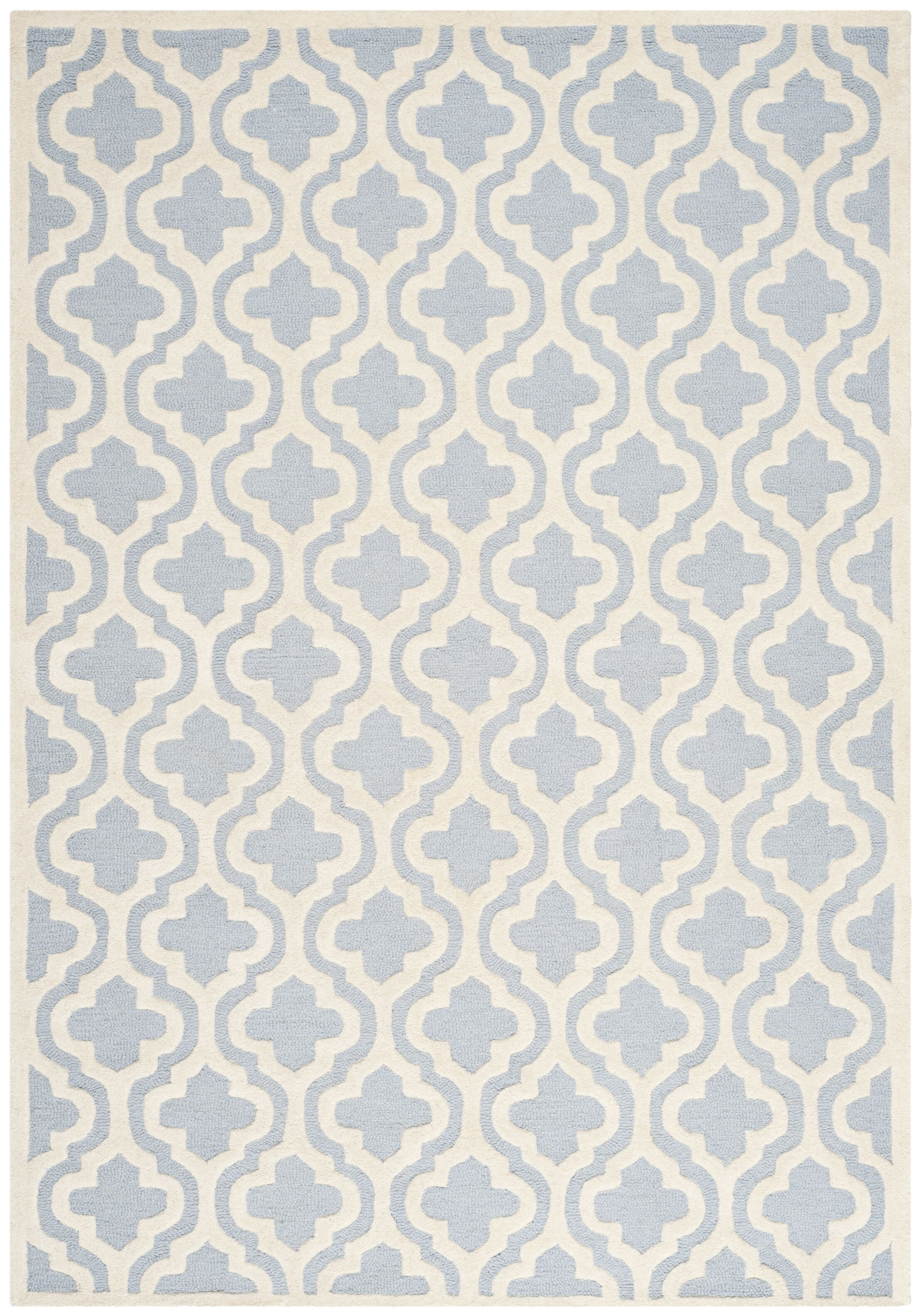 Martins Hand-Tufted Blue/Ivory Area Rug Rug Size: Rectangle 6' x 9'