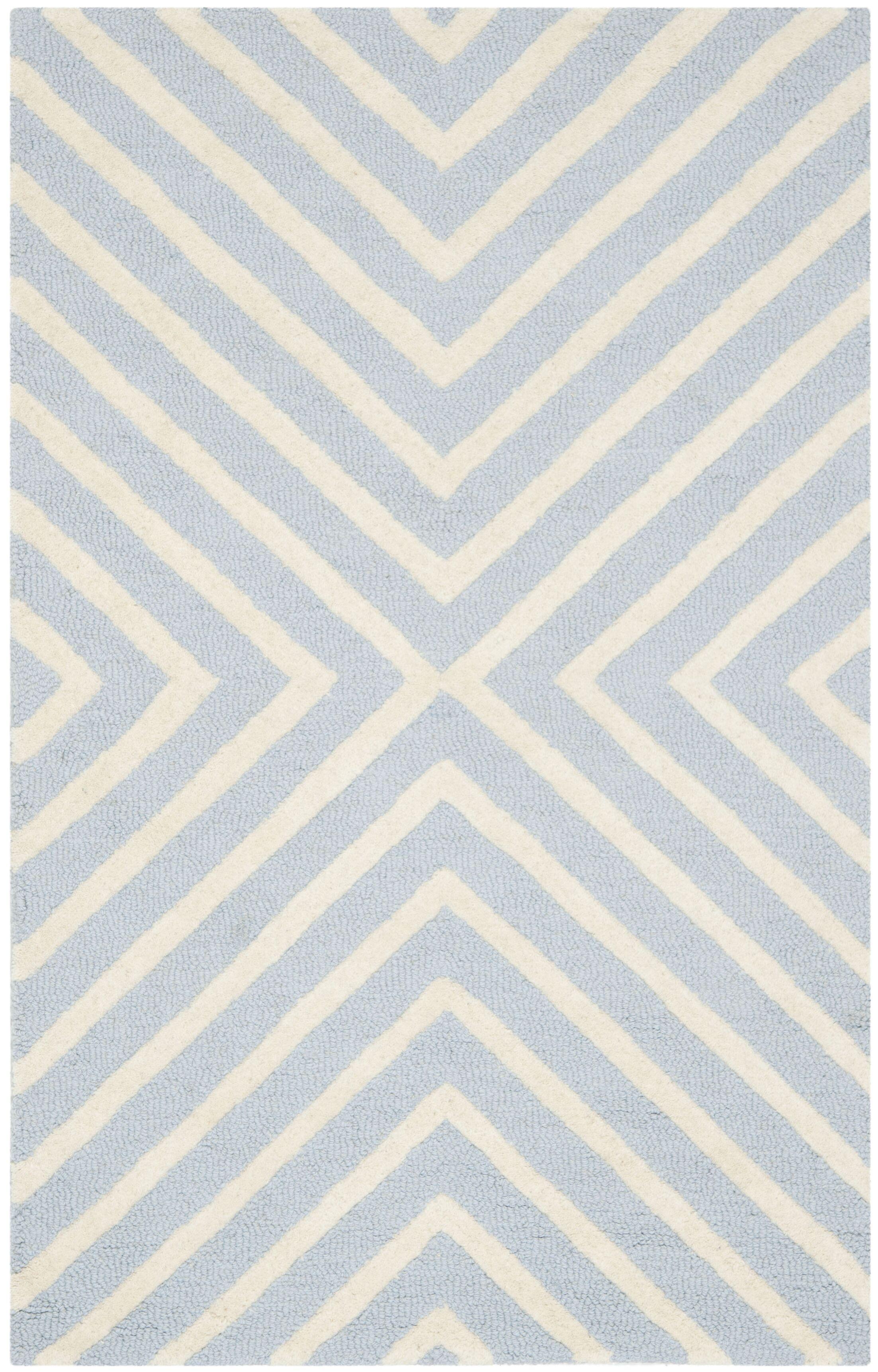 Weybridge Hand Woven Wool Light Blue/Ivory Area Rug Rug Size: Rectangle 9' x 12'