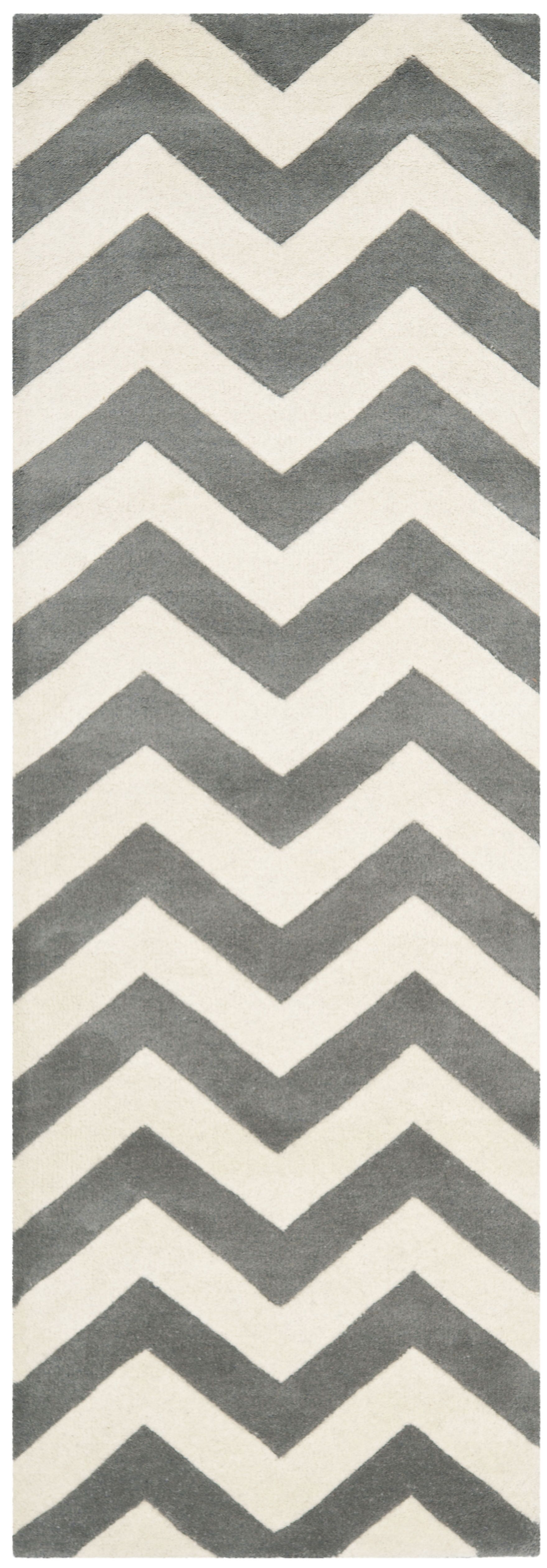 Wilkin Hand-Tufted Wool Dark Gray/Ivory Chevron Area Rug Rug Size: Runner 2'3