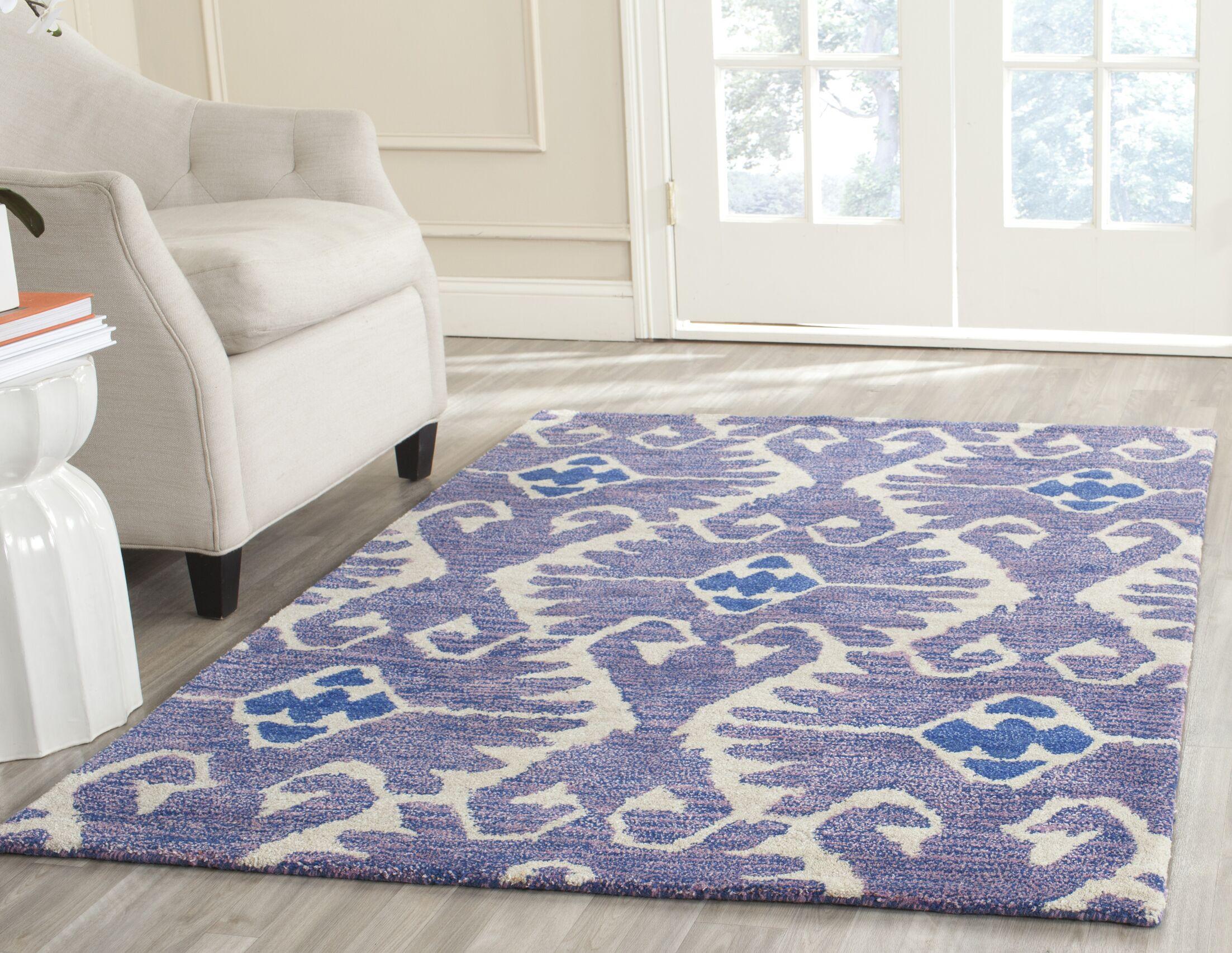 Kouerga Hand-Tufted Wool Lavender/Ivory Area Rug Rug Size: Rectangle 8'9