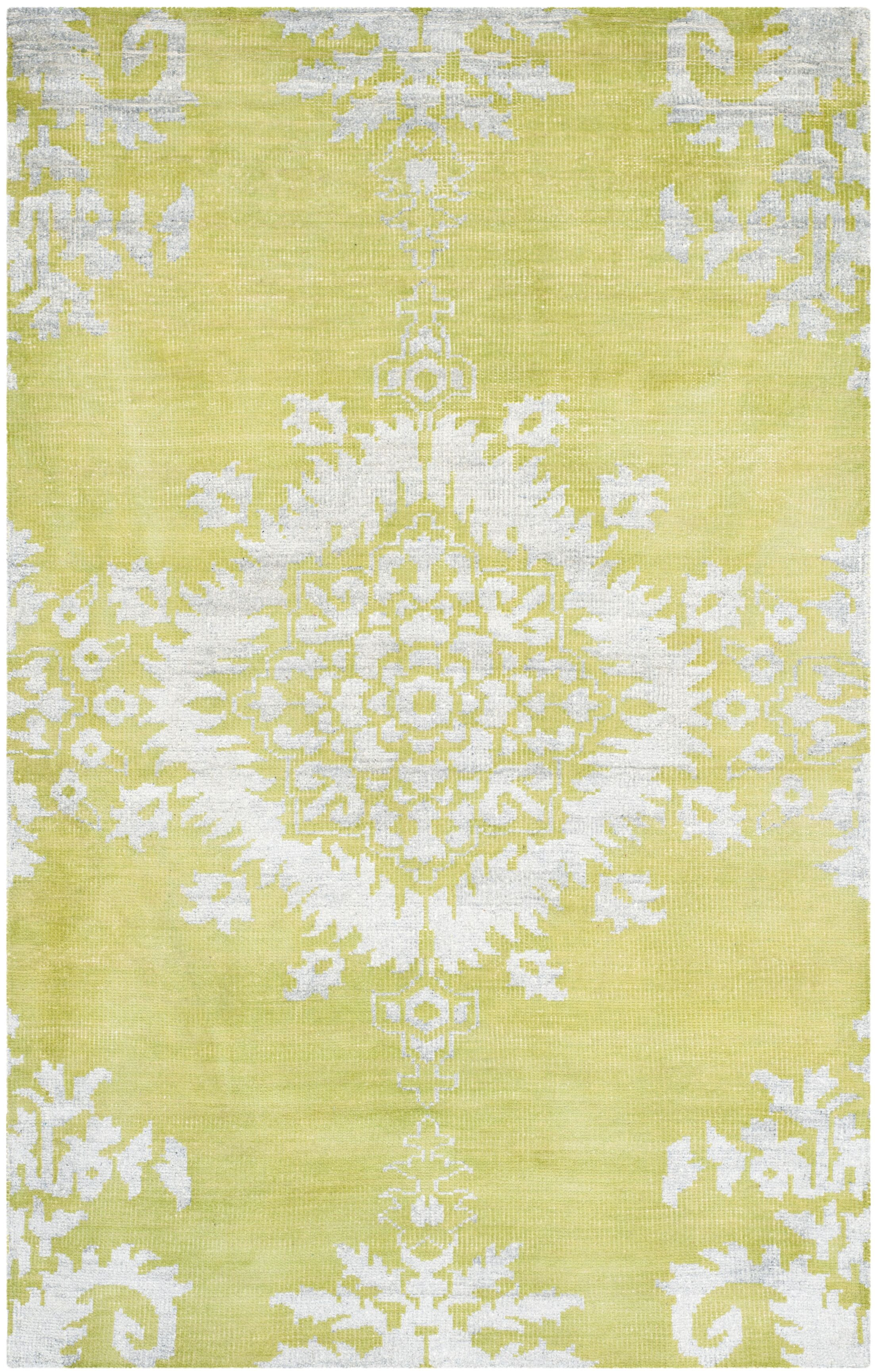 Collette Hand Woven Cotton Chartreuse Area Rug Rug Size: 4' x 6'