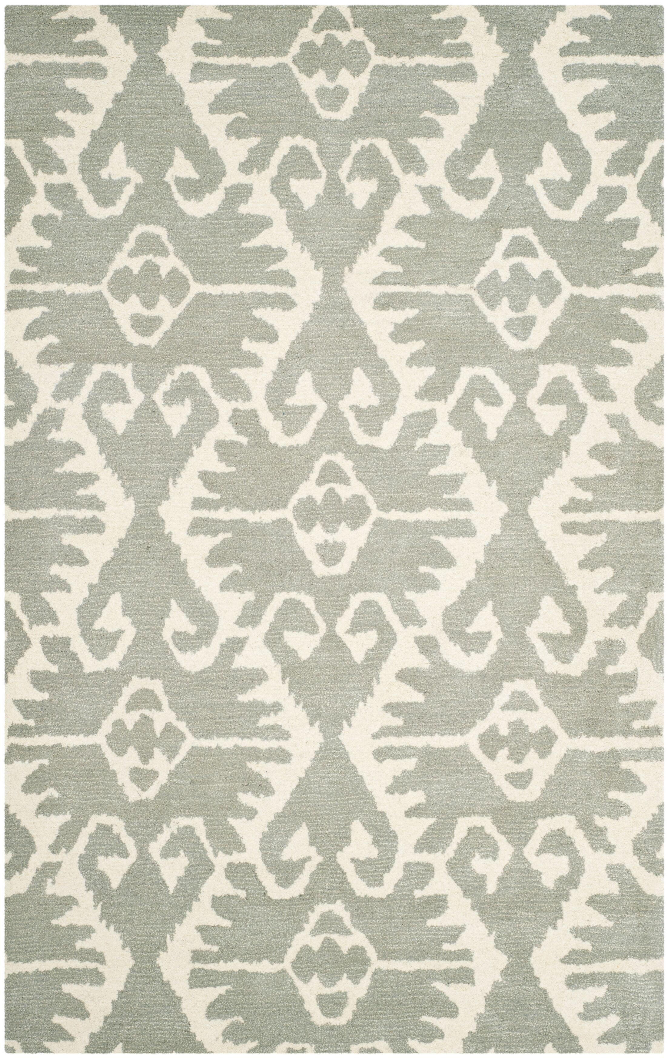 Kouerga Gray/Ivory Area Rug Rug Size: Rectangle 6' x 9'