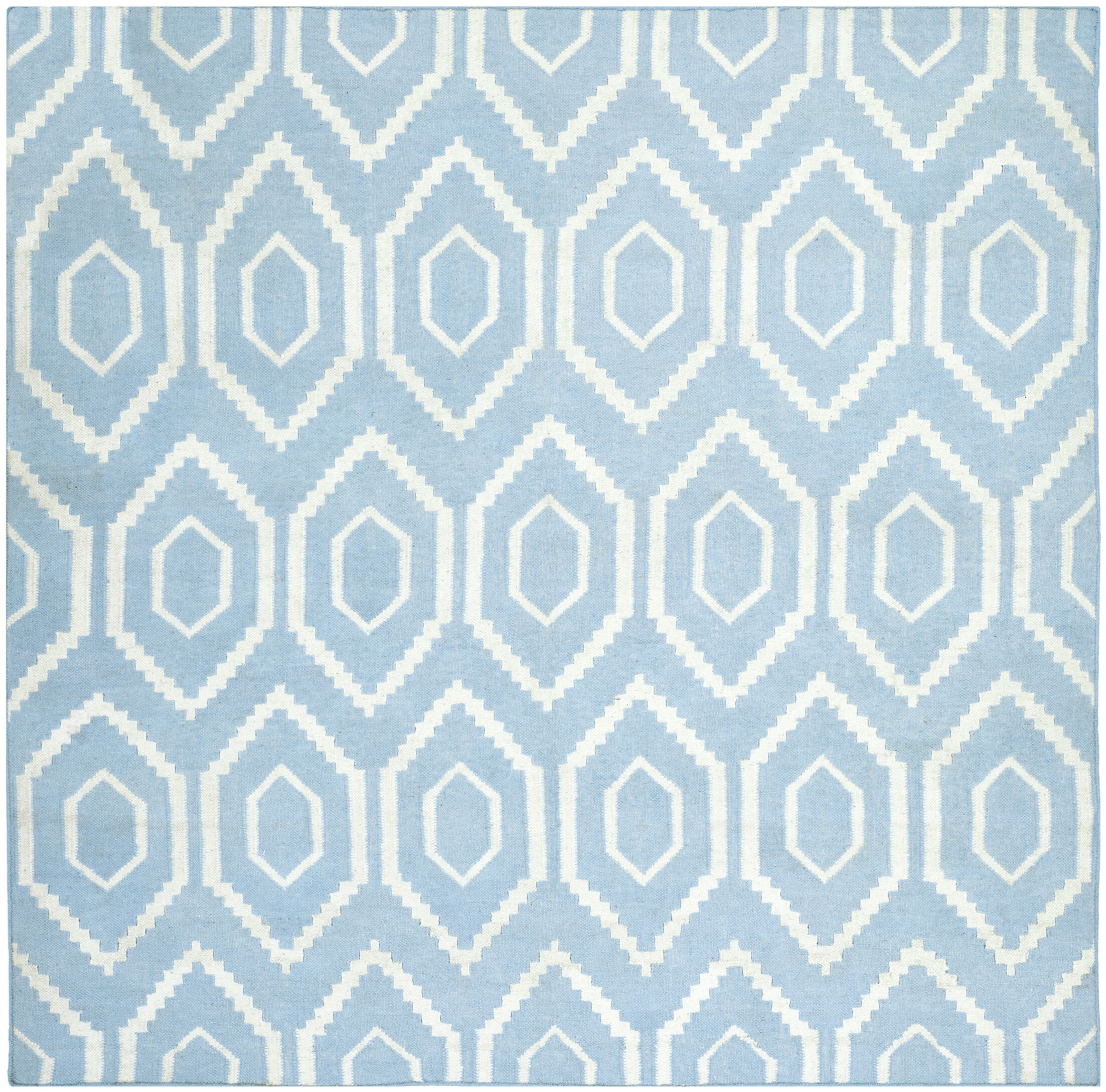 Gem Jam Hand-Woven Wool Blue/Ivory Area Rug Rug Size: Square 8'