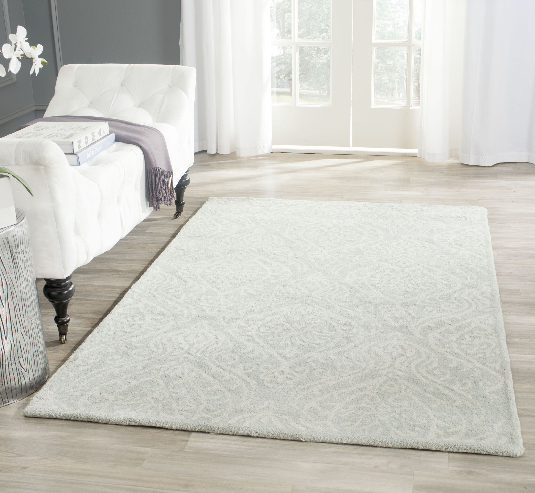 Mcguire Hand-Tufted Wool Silver/Ivory Area Rug Rug Size: Rectangle 8' x 10'