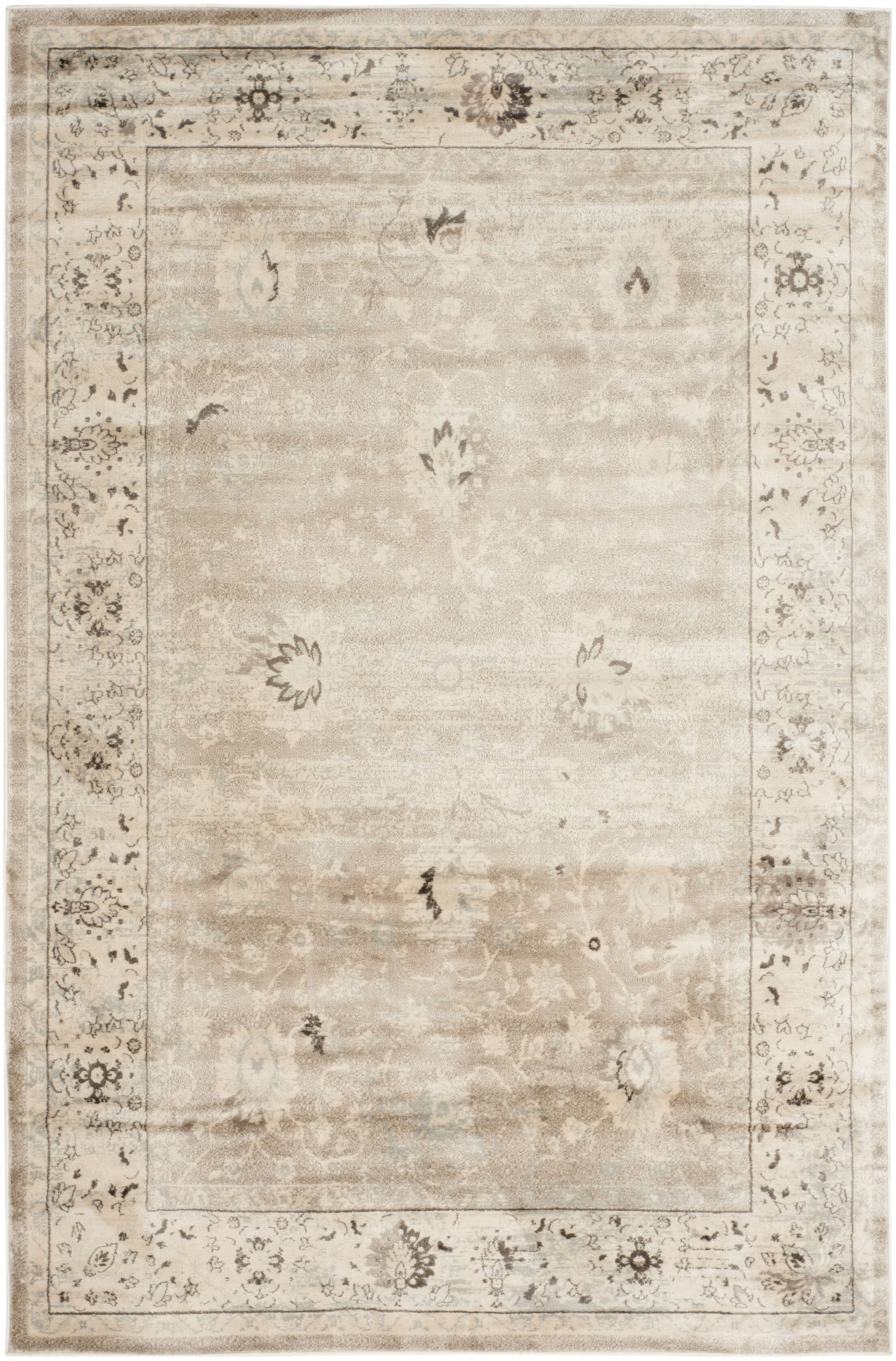 Talmont Light Gray/Ivory Area Rug Rug Size: Rectangle 8' x 11'