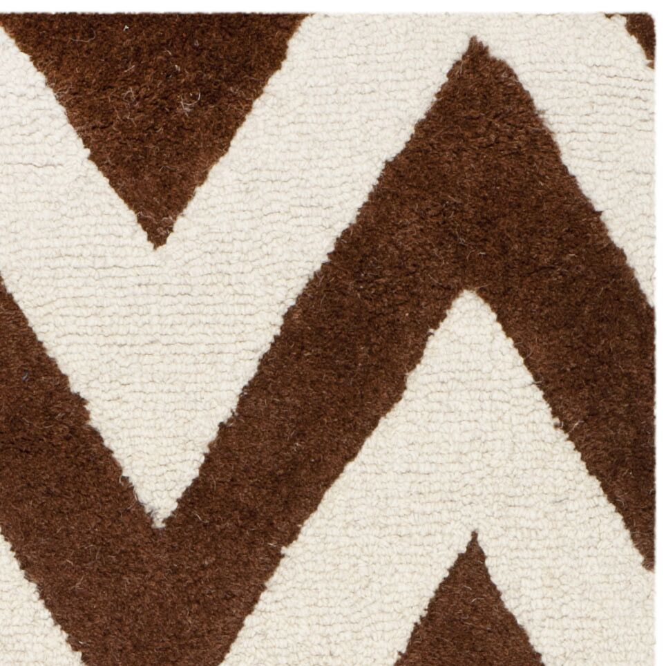 Charlenne Hand-Tufted Dark Brown/Ivory Area Rug Rug Size: Rectangle 9' x 12'