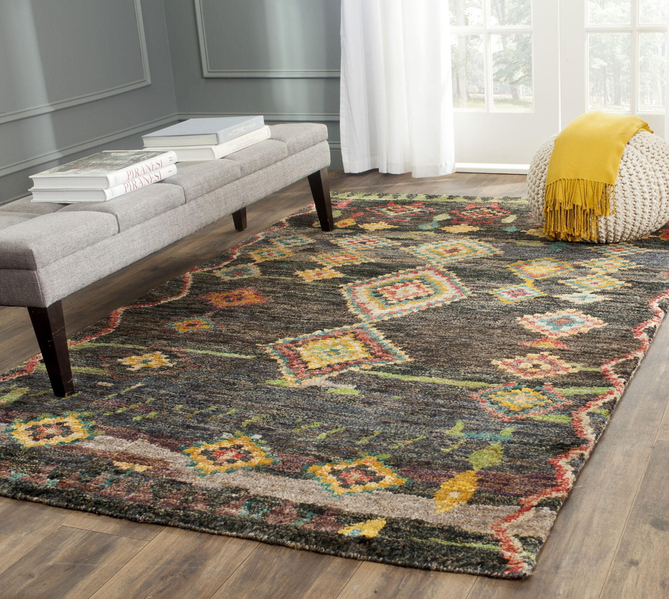 Elise Hand-Knotted Black Area Rug Rug Size: Rectangle 8' x 10'