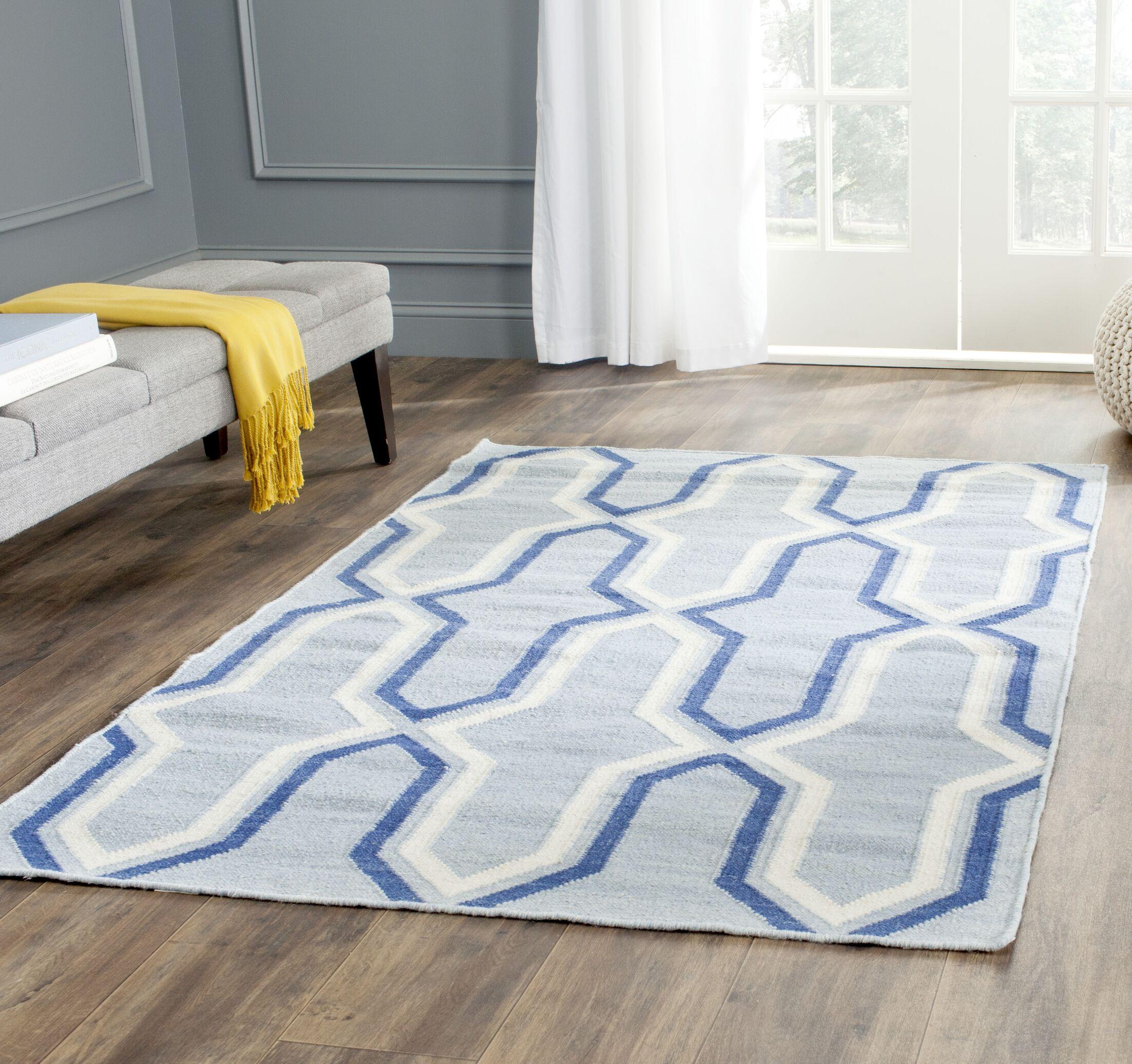 Dhurries Handmade Light Blue/Dark Blue Area Rug Rug Size: Rectangle 6' x 9'