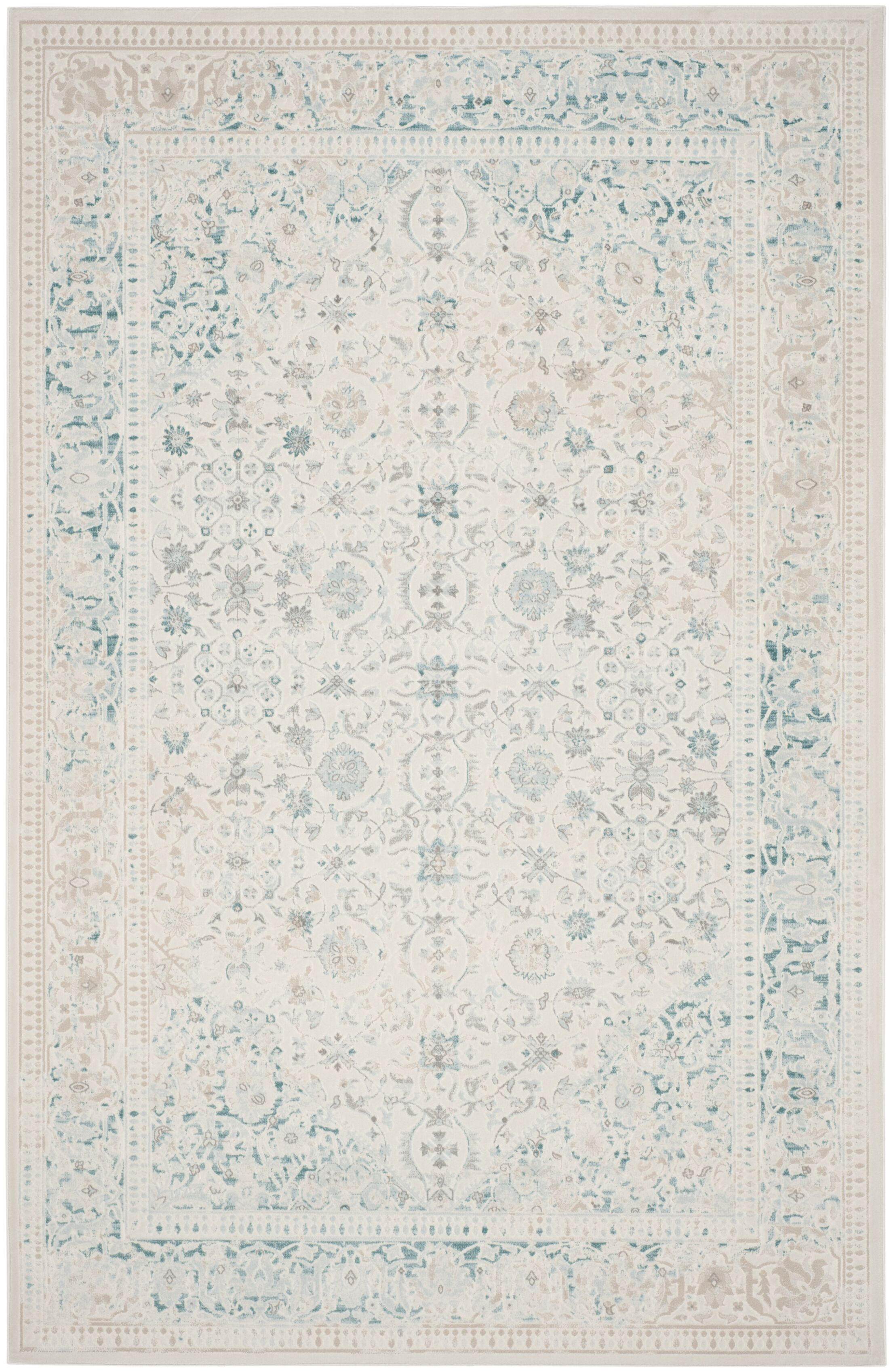 Auguste Turquoise/Ivory Area Rug Rug Size: Rectangle 4' x 5'7