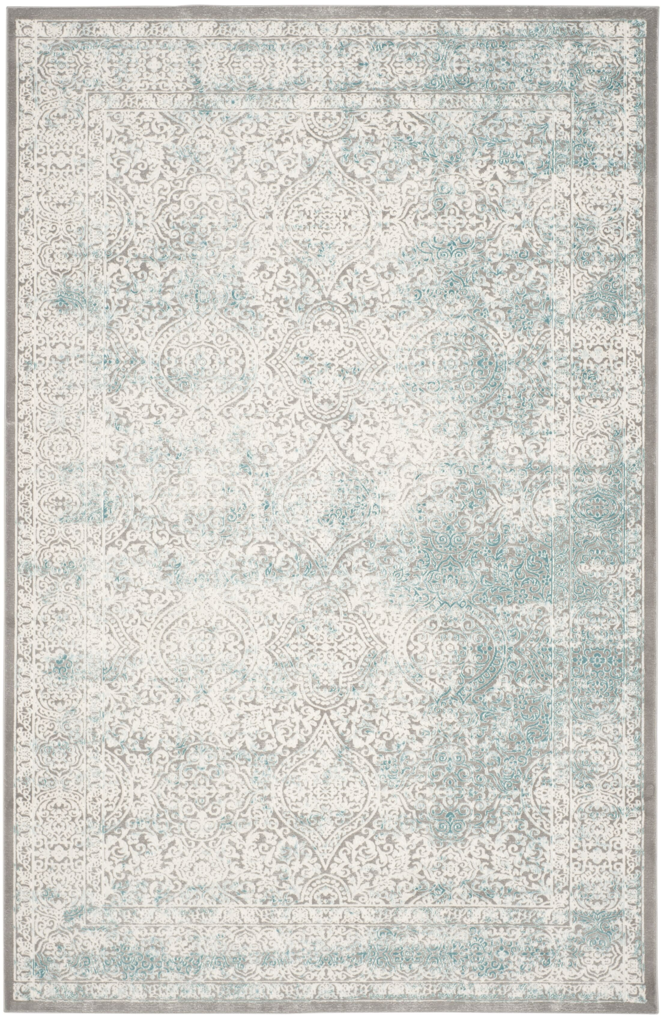 Auguste Turquoise/Ivory Area Rug Rug Size: Rectangle 6'7