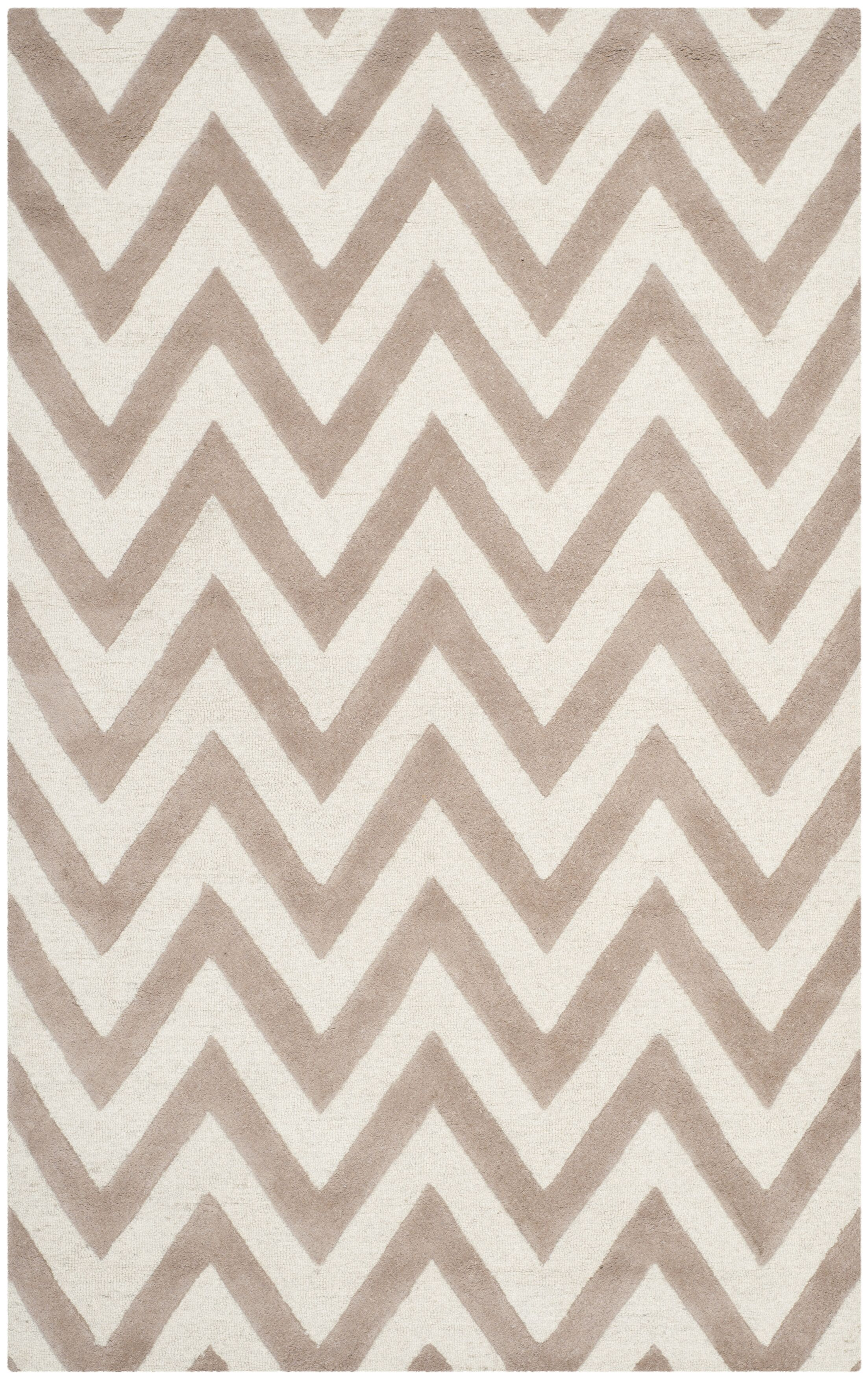 Charlenne Hand-Tufted Wool Beige/Brown Area Rug Rug Size: Rectangle 5' x 8'