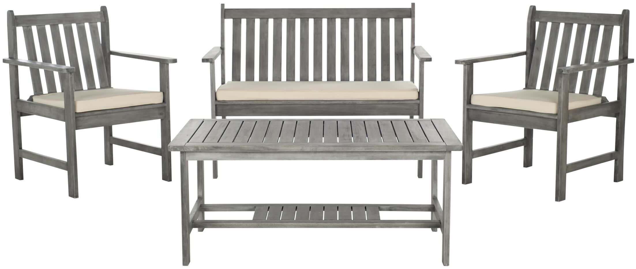 Joliet 4 Piece Sofa Set with Cushions Color: Grey Wash