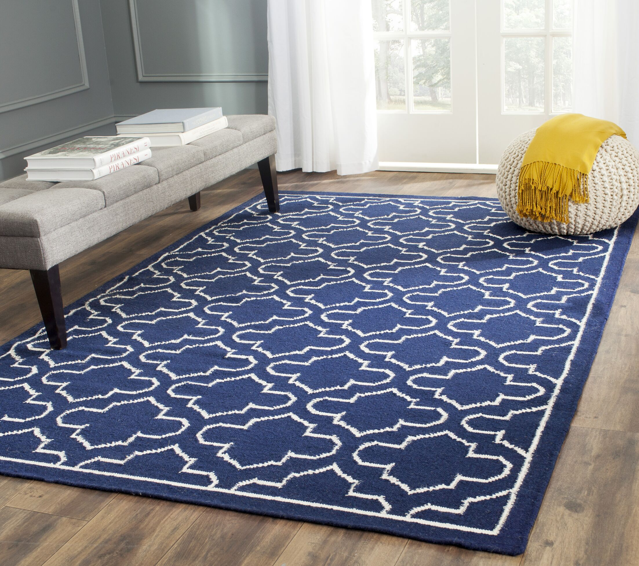 Dhurries Wool Navy/Ivory Area Rug Rug Size: Rectangle 9' x 12'