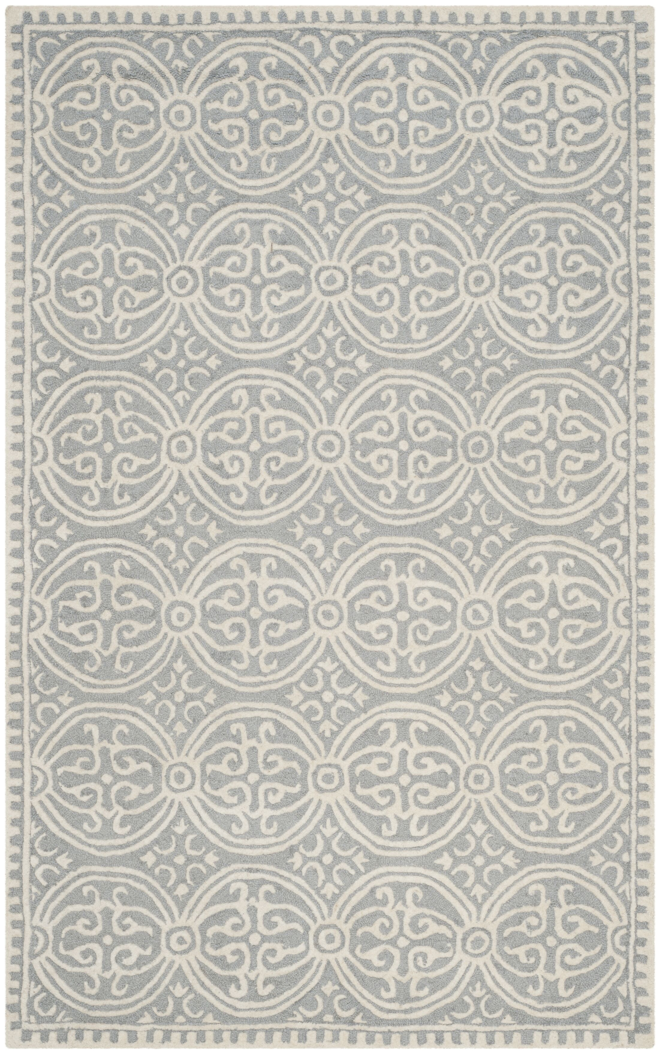 Landen Hand-Tufted Silver/Ivory Area Rug Rug Size: Rectangle 11' x 15'