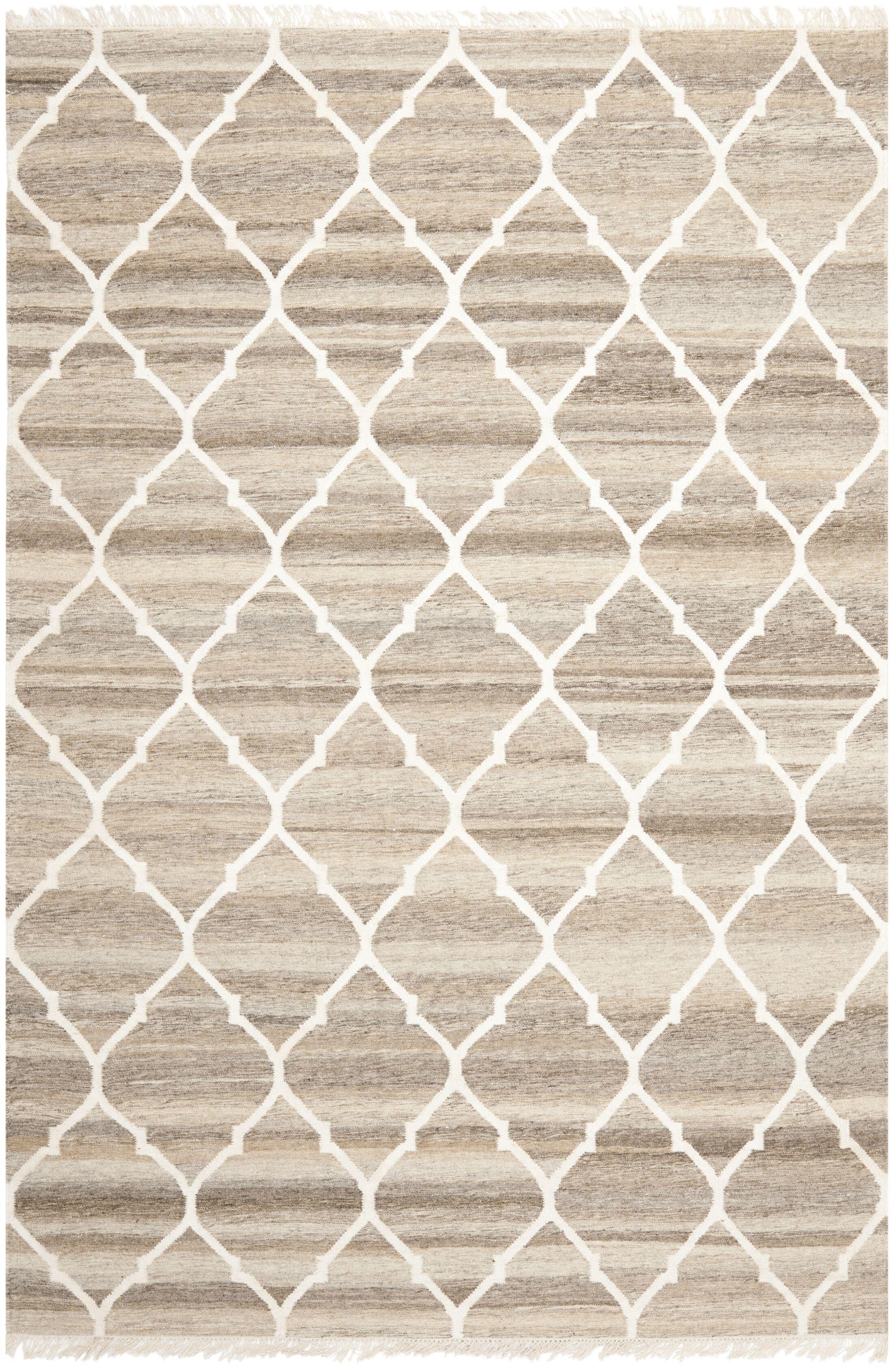 Natural Kilim Hand-Woven Light Gray/Ivory Area Rug Rug Size: Rectangle 4' x 6'