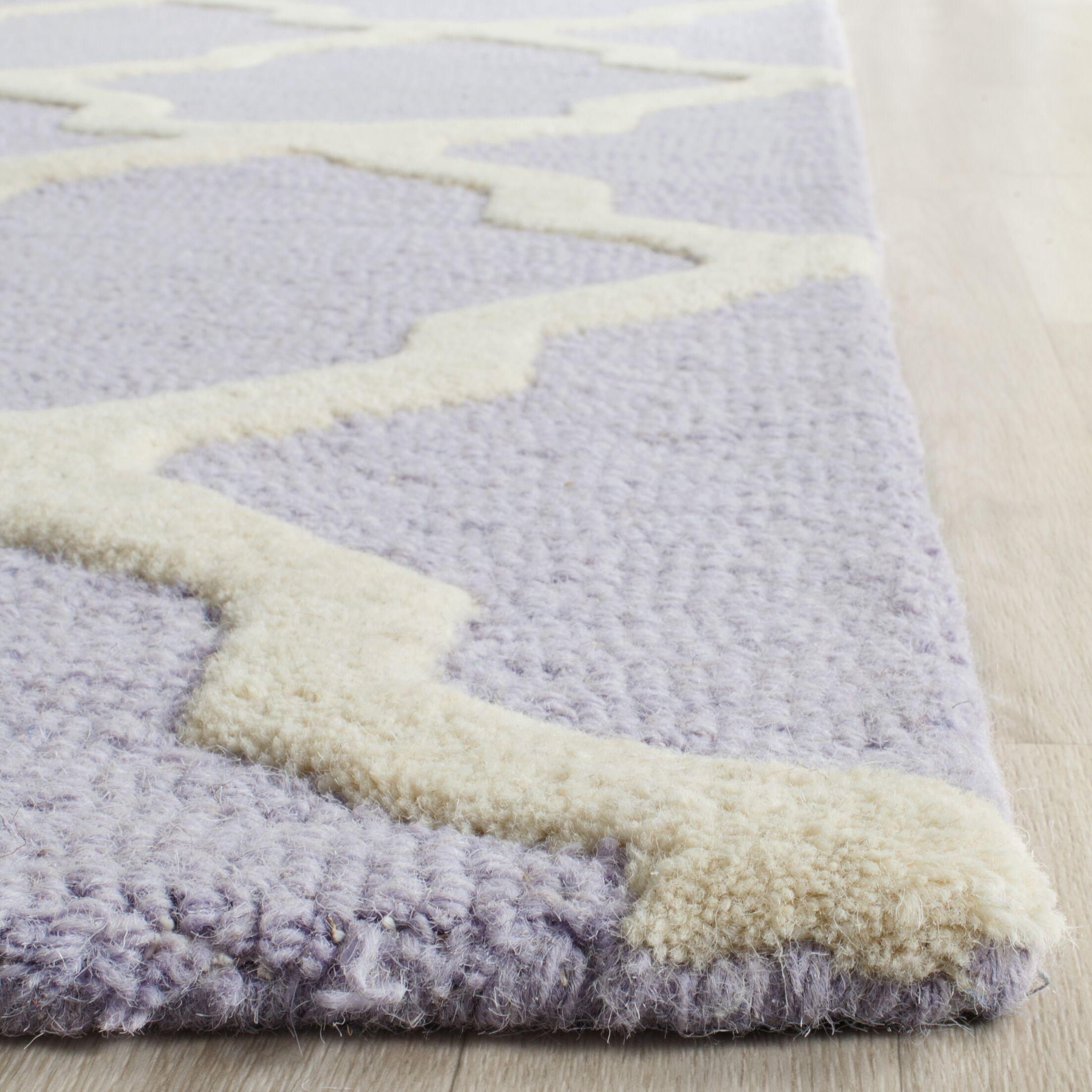 Charlenne Hand-Tufted Lavender/Ivory Area Rug Rug Size: Rectangle 5' x 8'