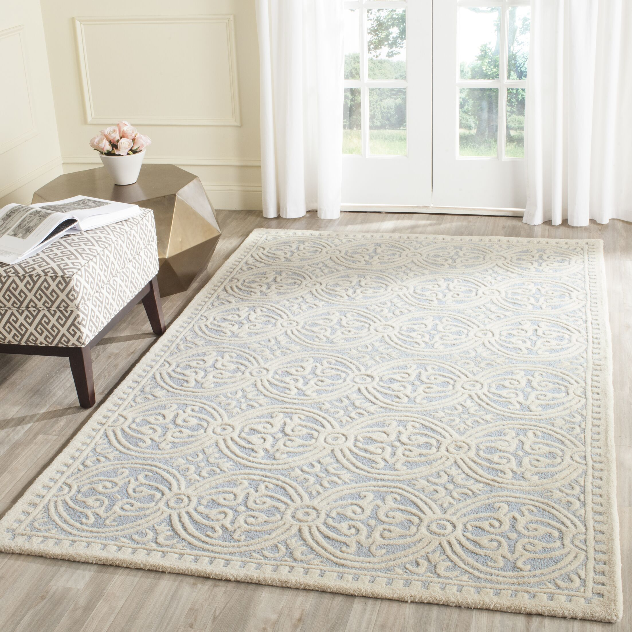 Martins Hand-Tufted Wool Light Blue/Ivory Area Rug Rug Size: Rectangle 7'6