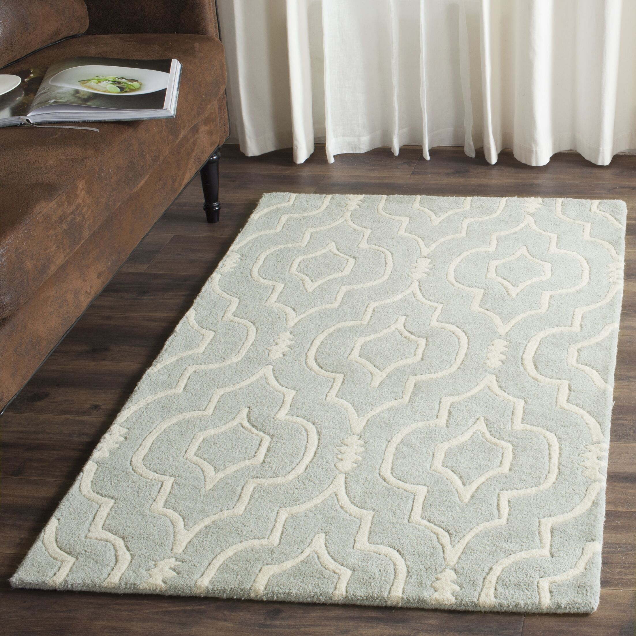 Wilkin Hand-Tufted Gray/Ivory Area Rug Rug Size: Rectangle 8'9