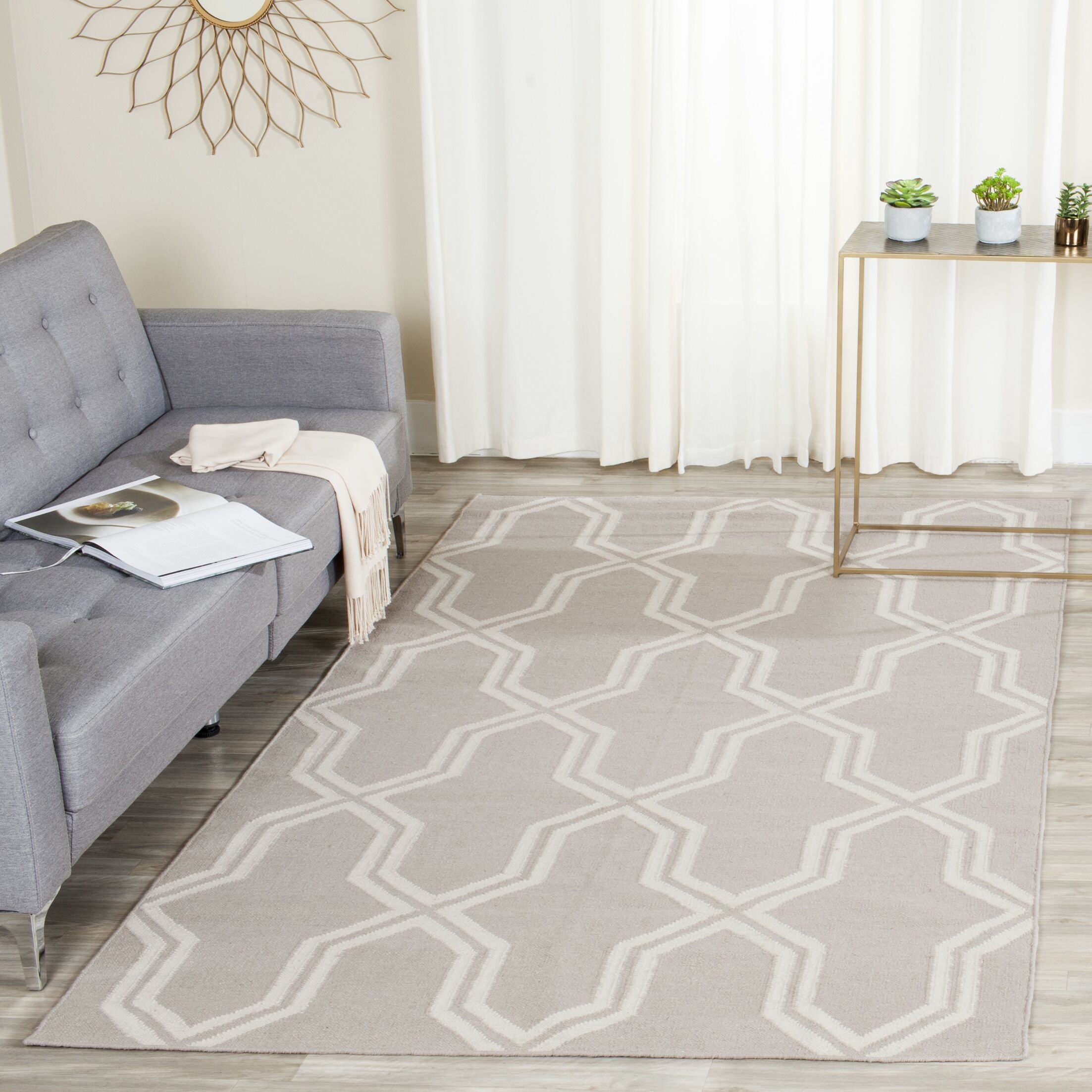 Dhurries Hand-Woven Wool Gray/Ivory Area Rug Rug Size: Rectangle 6' x 9'