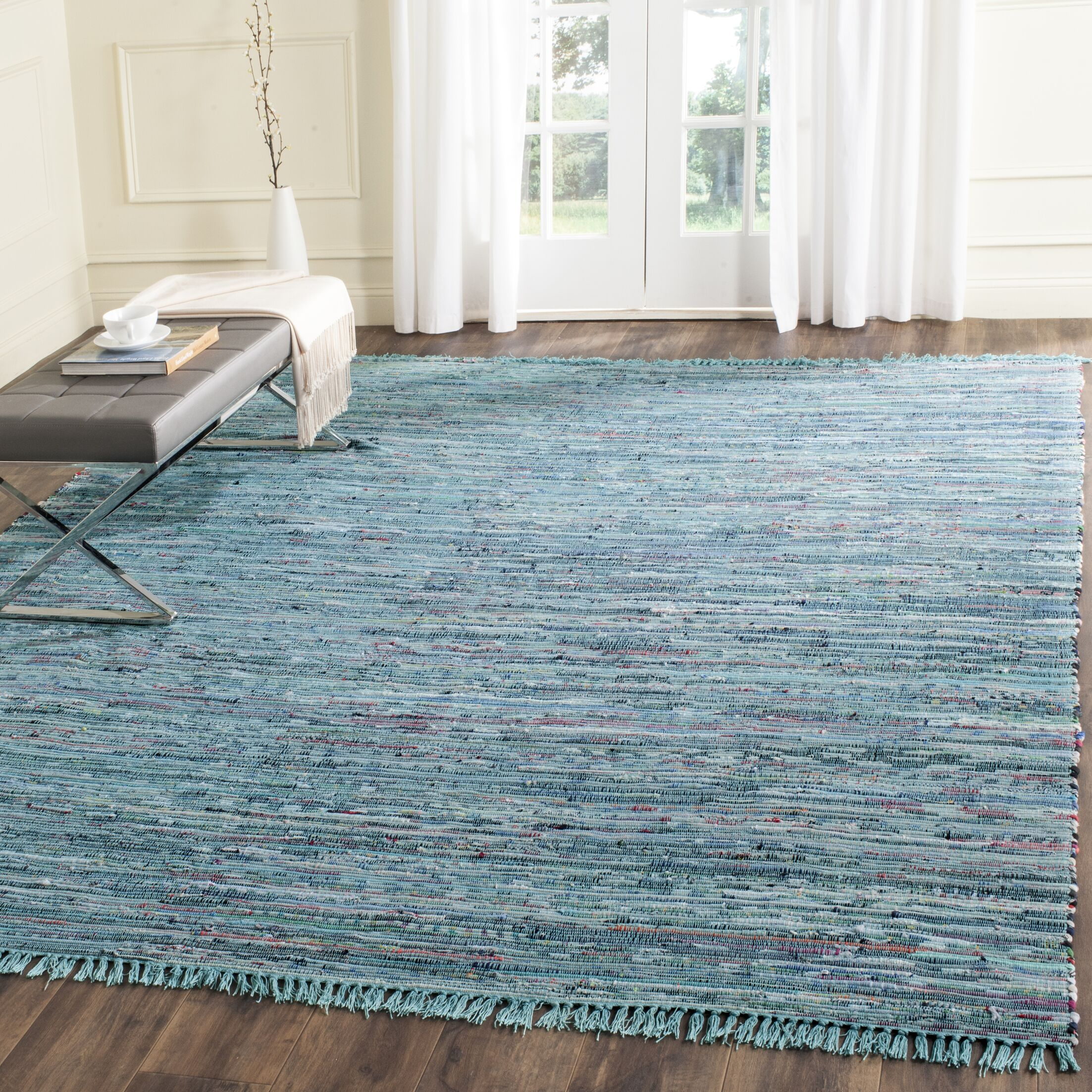 Inkom Hand-Woven Cotton Blue Area Rug Rug Size: Rectangle 8' x 10'