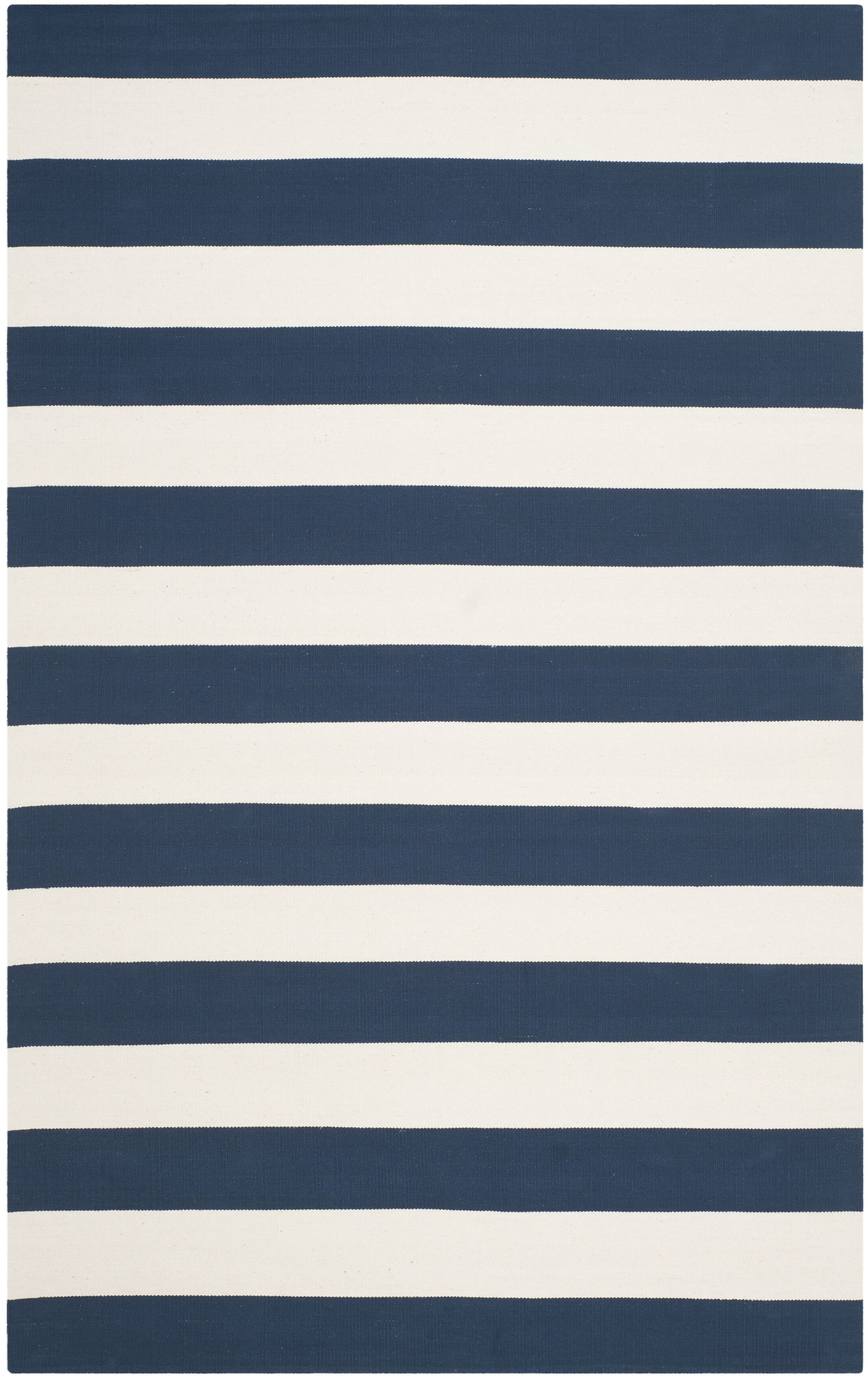 Brookvale Hand-Woven Cotton Navy/Ivory Area Rug Rug Size: Rectangle 4' x 6'
