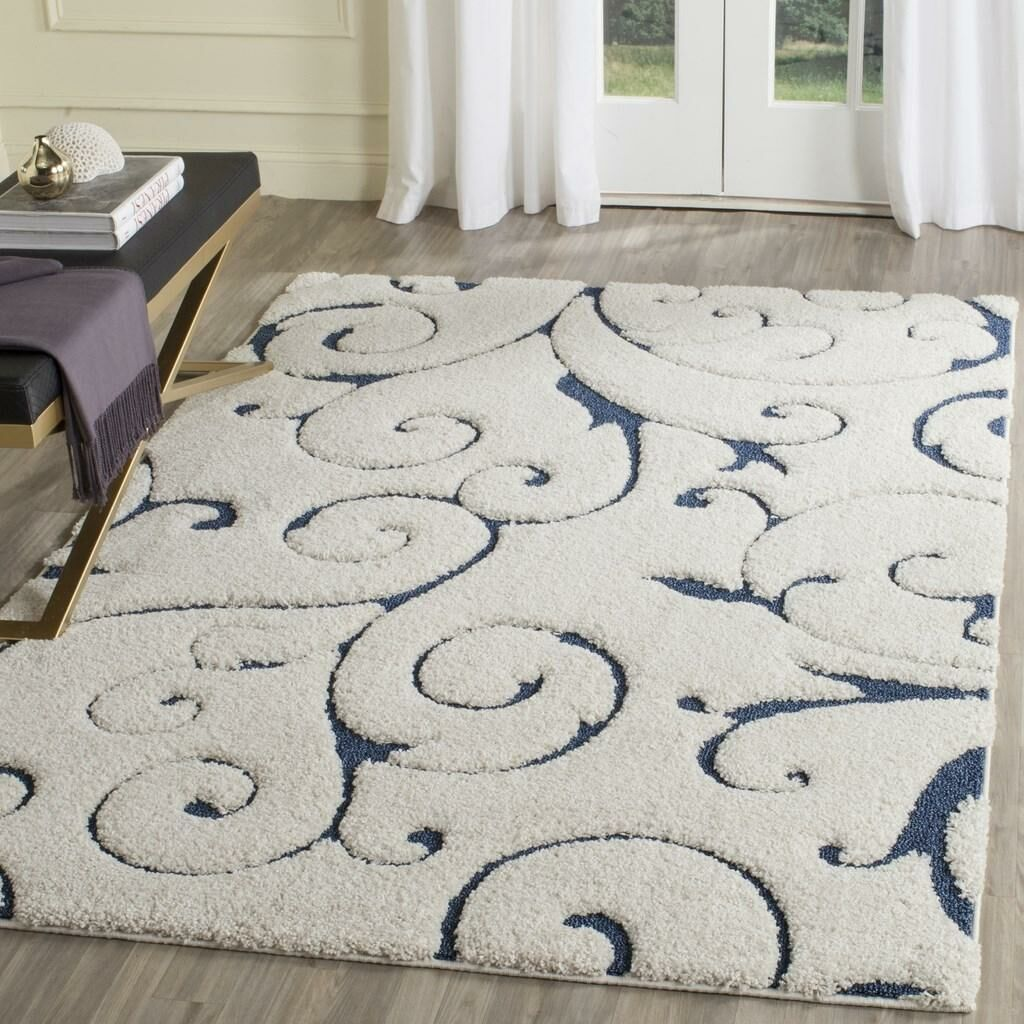 Alison Cream/Navy Blue Area Rug Rug Size: Round 9'