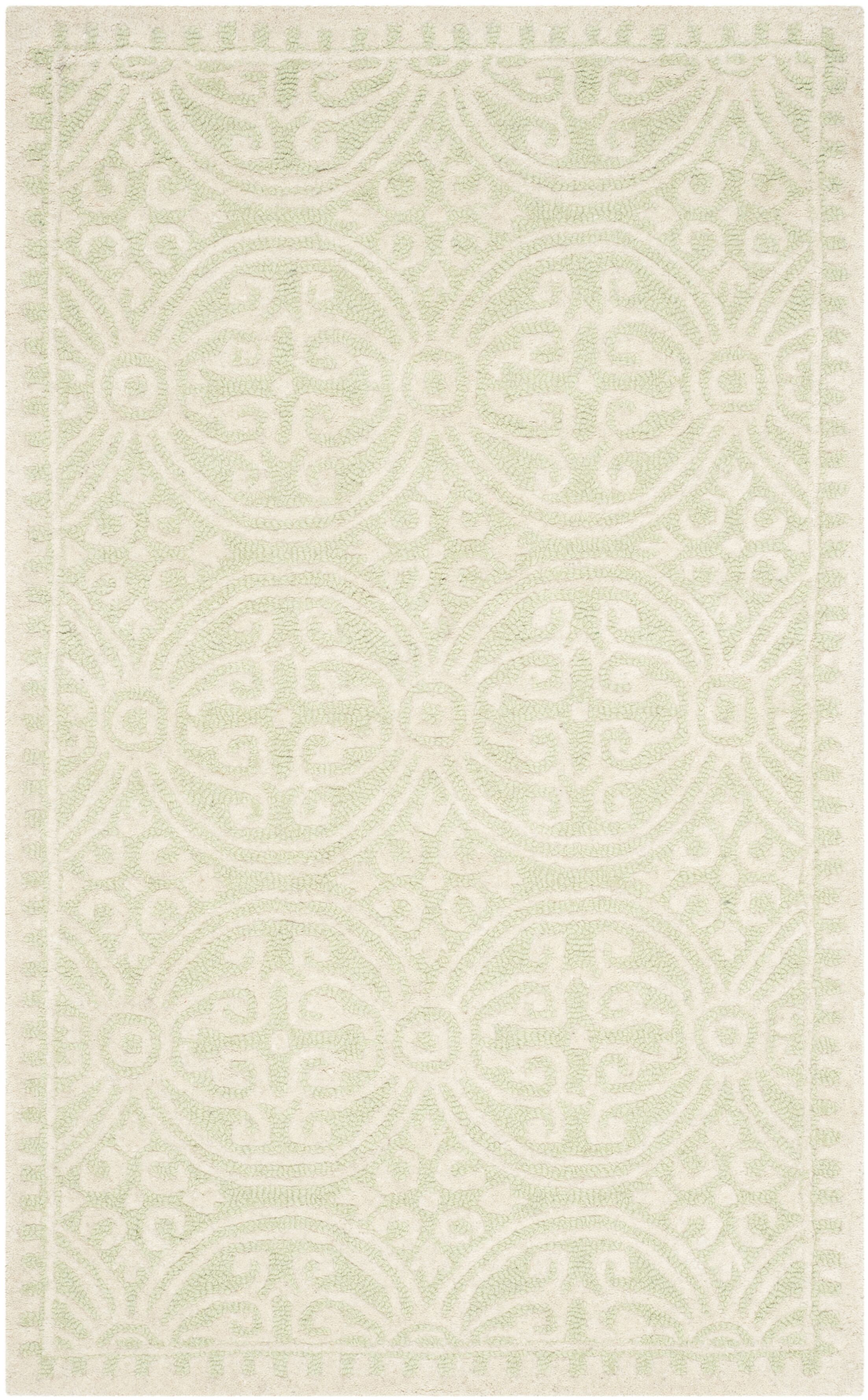 Diona Light Green/Ivory Area Rug Rug Size: Rectangle 2' x 3'