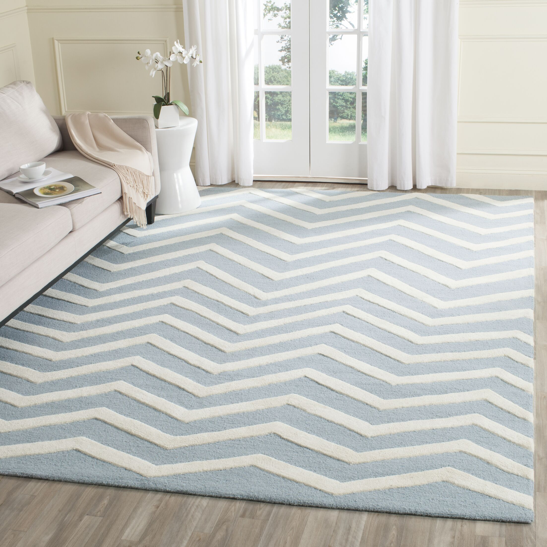 Charlenne Hand-Tufted Wool Gray/Ivory Area Rug Rug Size: Square 6'