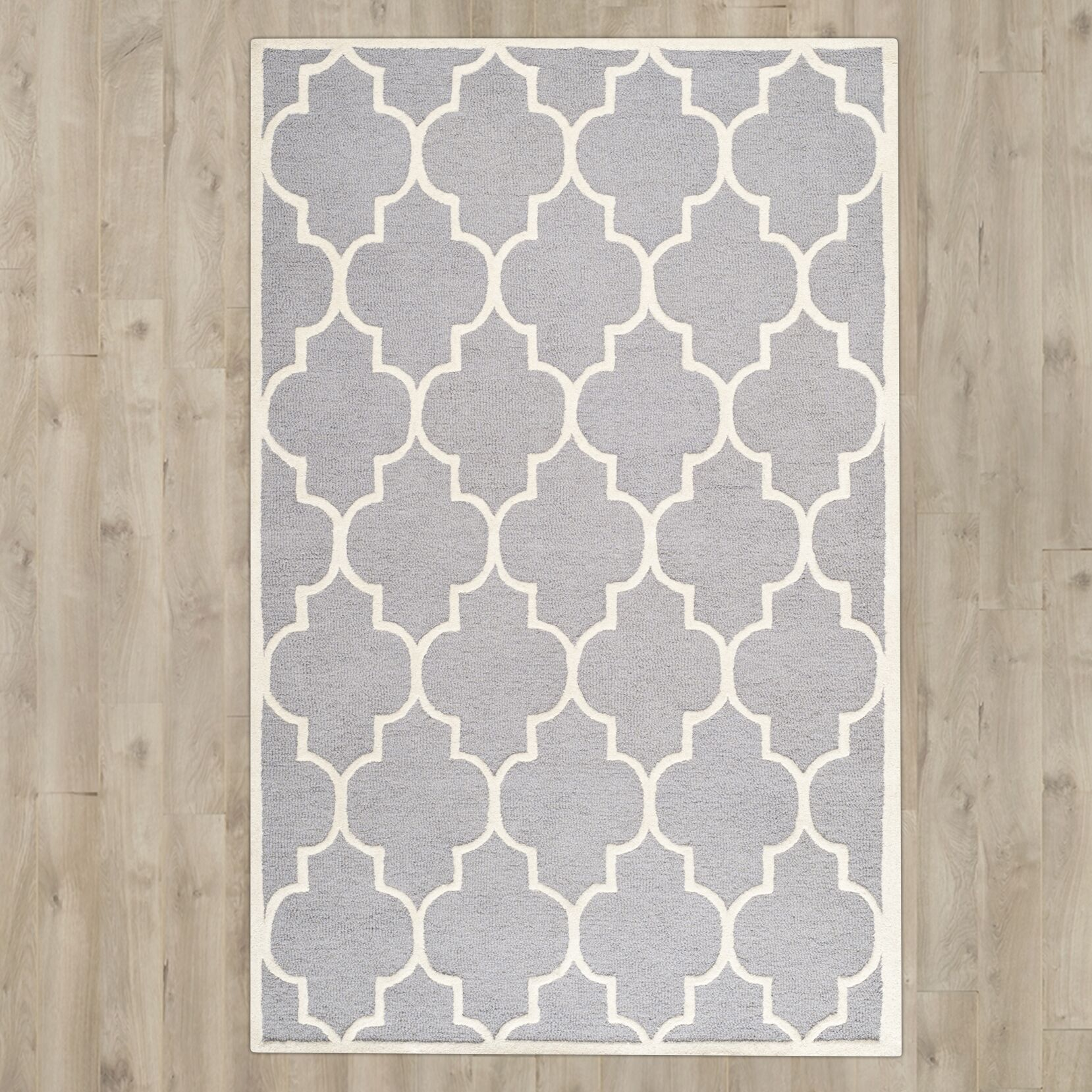 Martins Hand-Tufted Wool Gray/Ivory Area Rug Rug Size: 5' x 7'