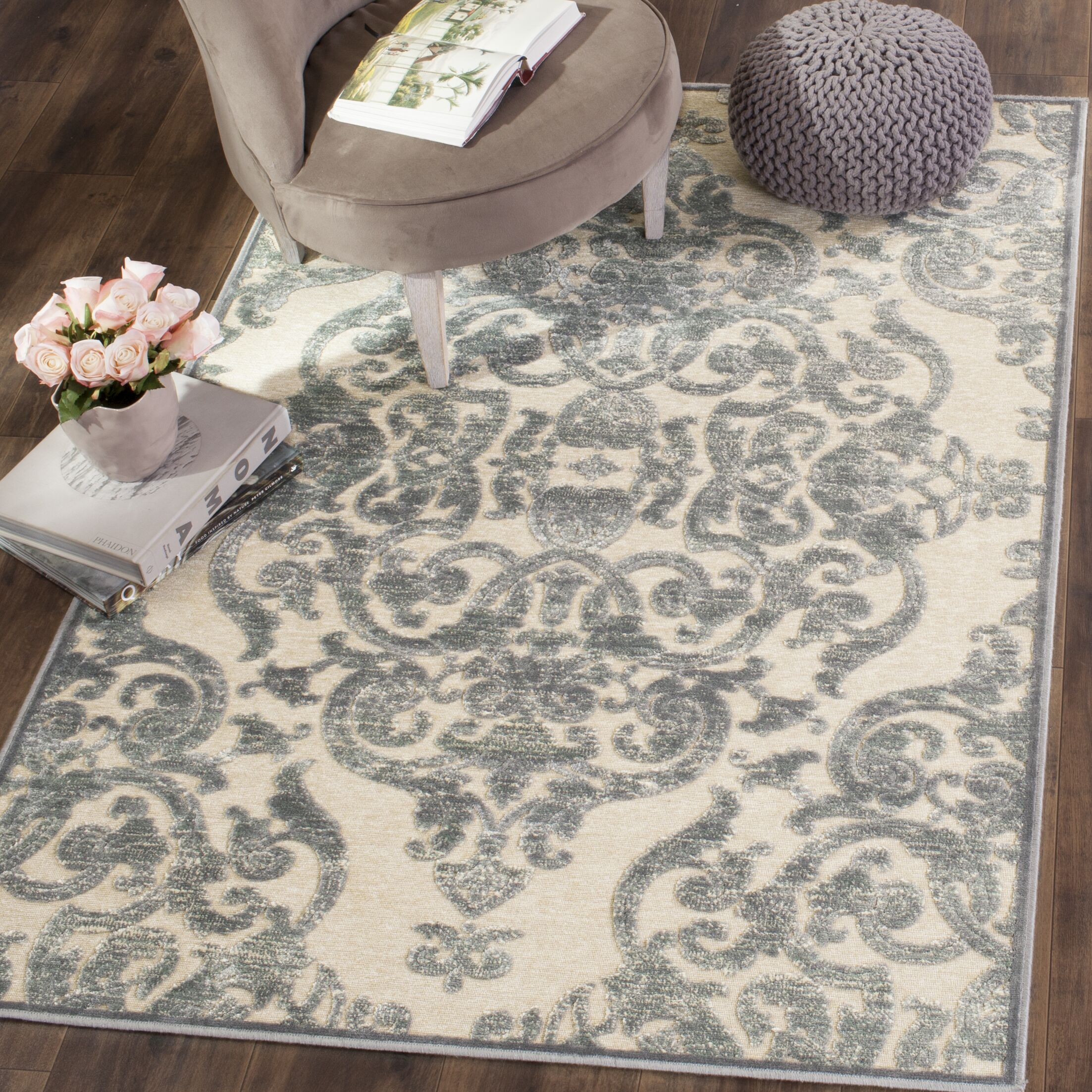 Maspeth Gray/Ivory Area Rug Rug Size: Rectangle 7'6