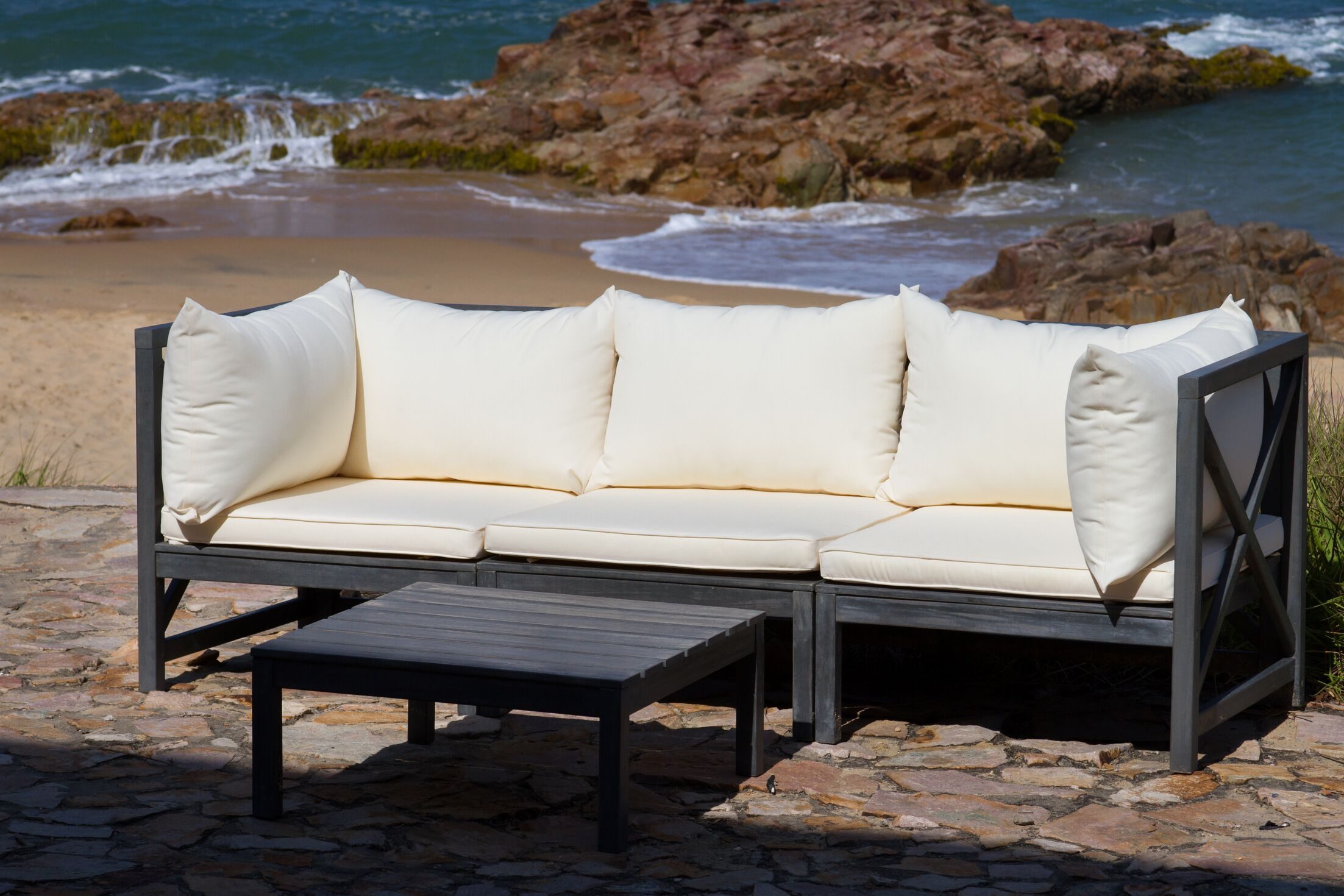 Sanibel 4 Piece Sectional Set with Cushions Cushon Color: Taupe, Color: Dark Slate Gray