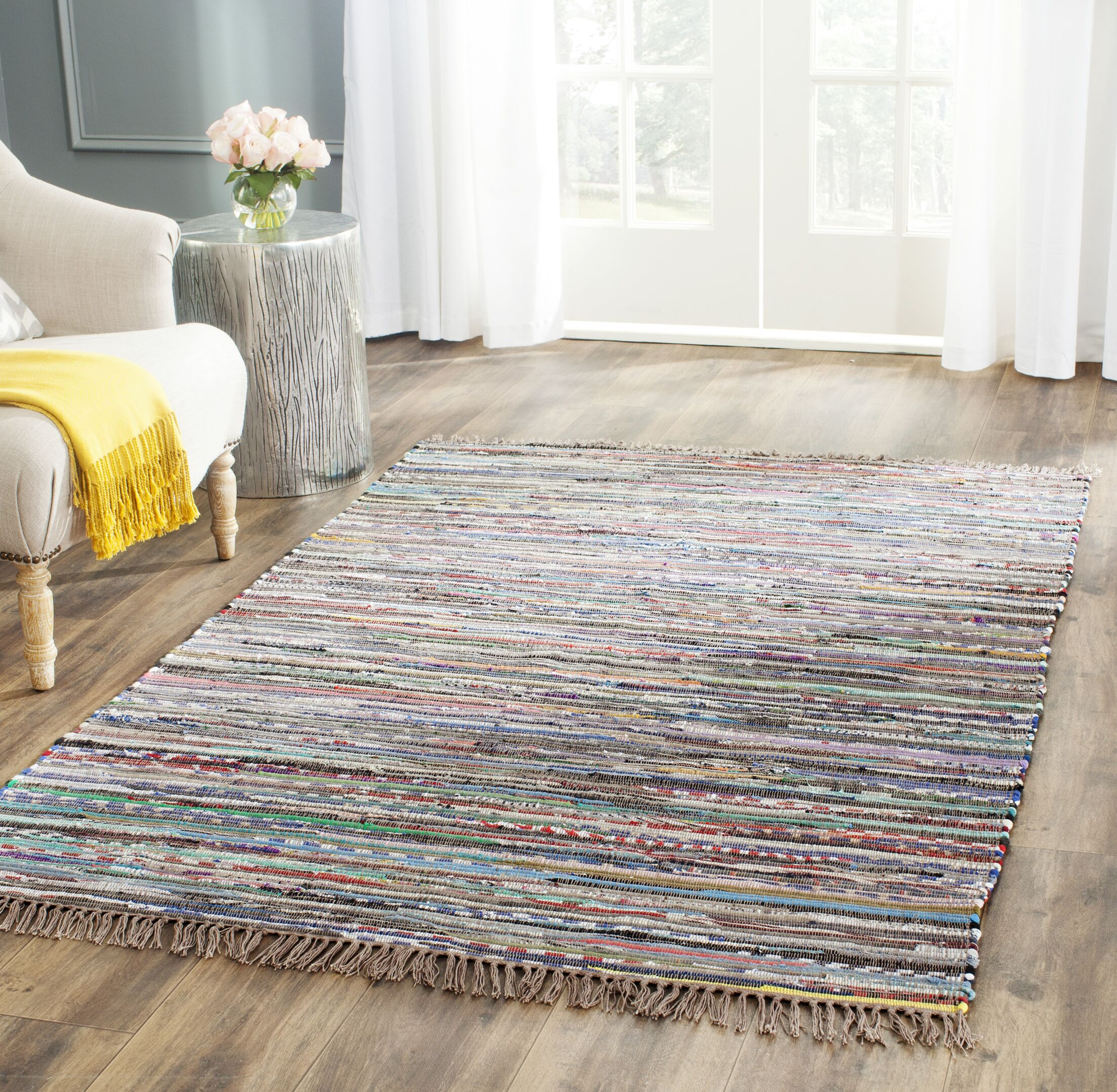 Hatteras Contemporary Hand-Woven Grey/Red/Green Area Rug Rug Size: Rectangle 6' x 9'