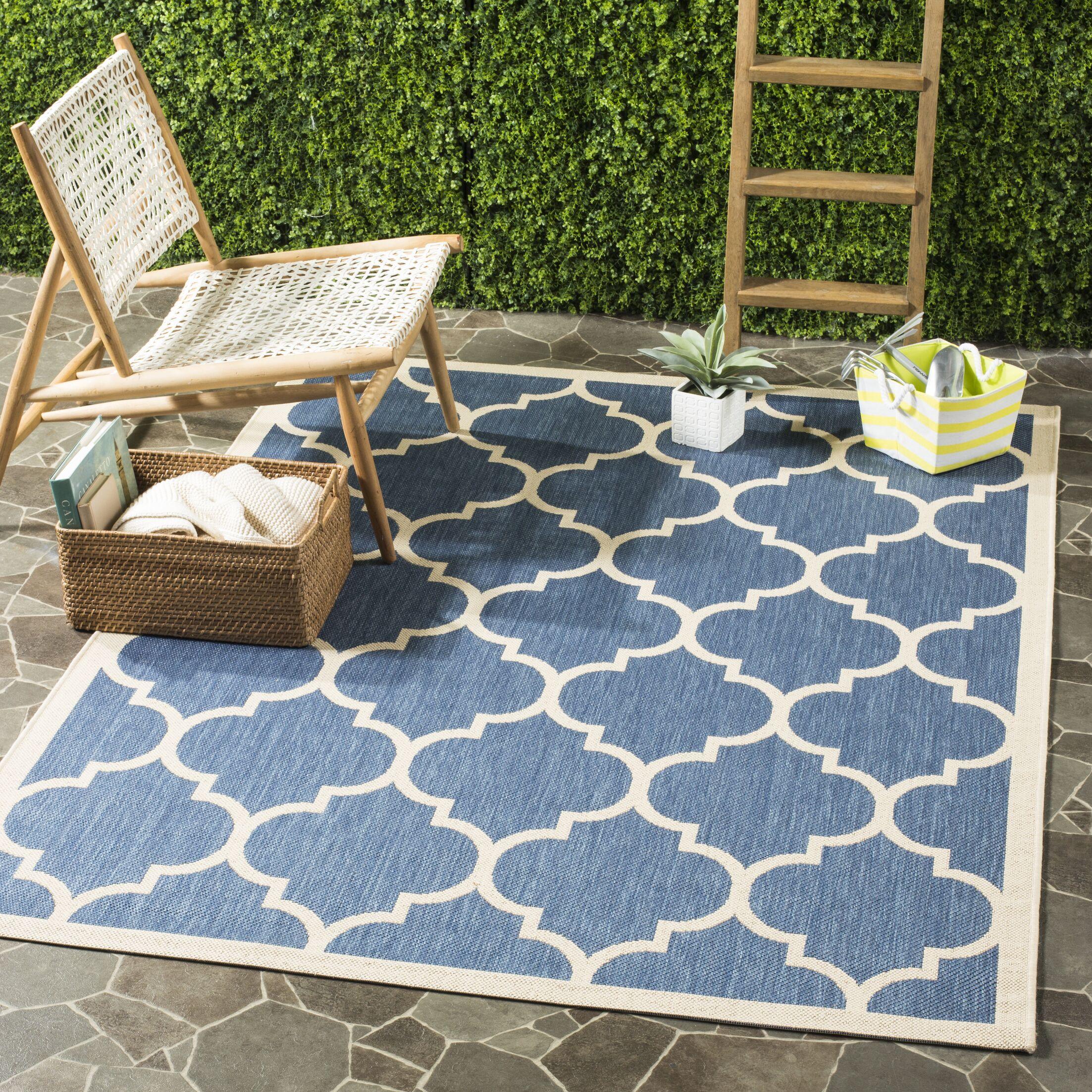 Short Blue/Beige Indoor/Outdoor Area Rug Rug Size: Rectangle 8' x 11'