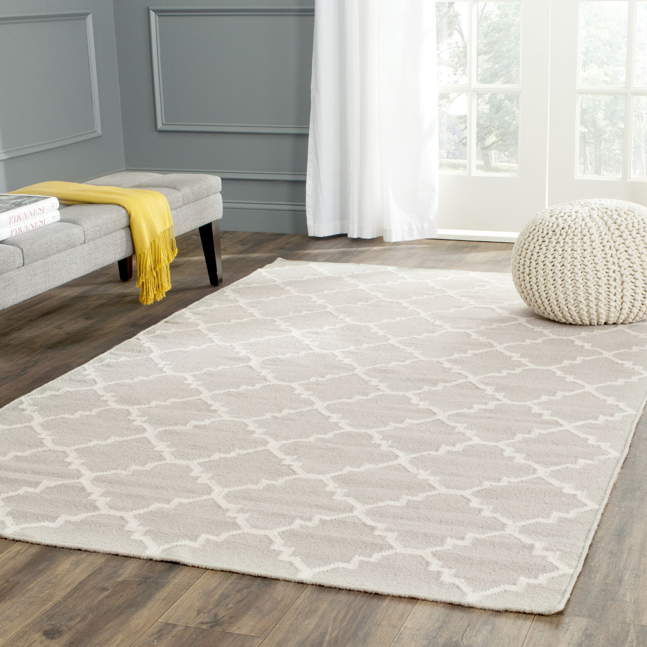 Dhurries Wool Ivory Area Rug Rug Size: Rectangle 6' x 9'