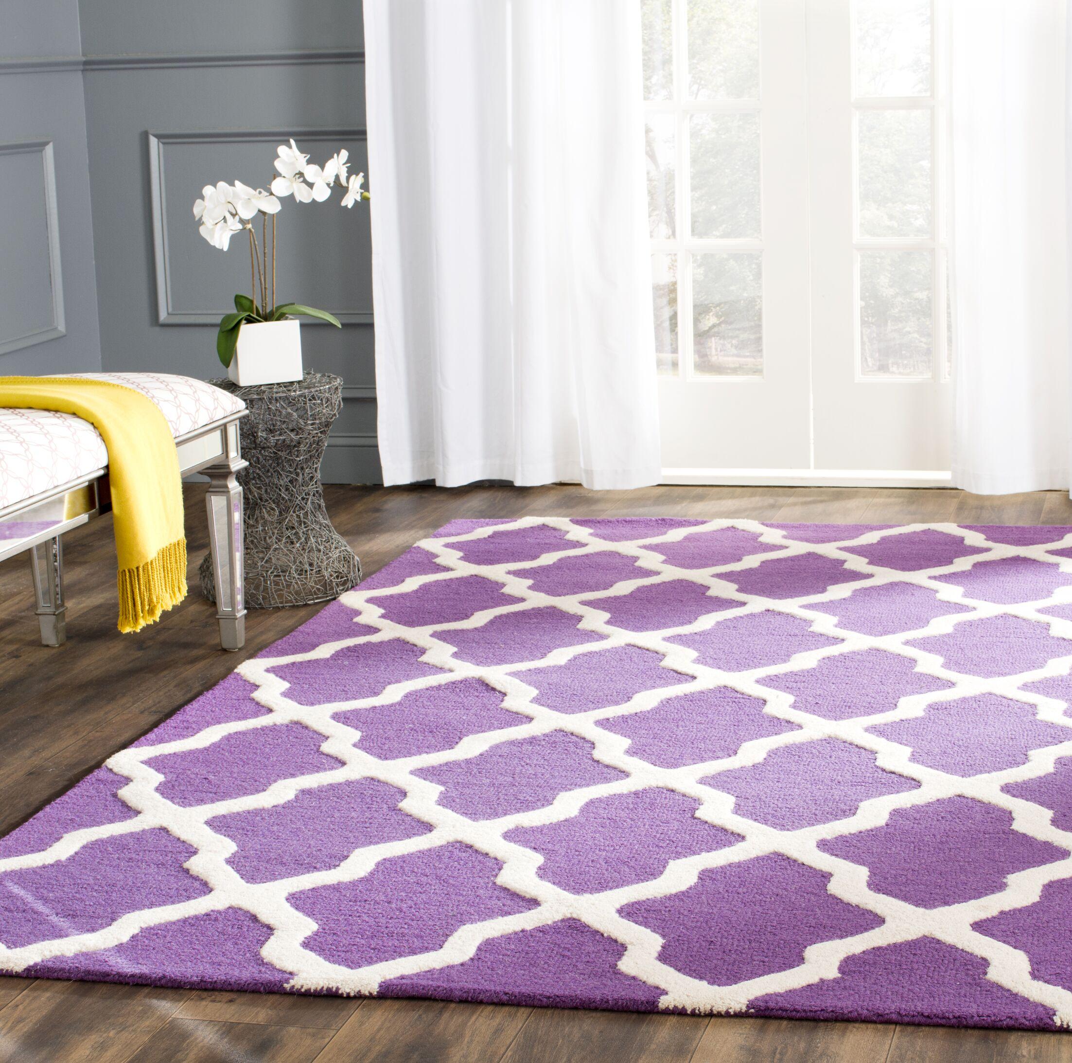 Charlenne Hand-Tufted Purple/Ivory Area Rug Rug Size: Rectangle 5' x 8'