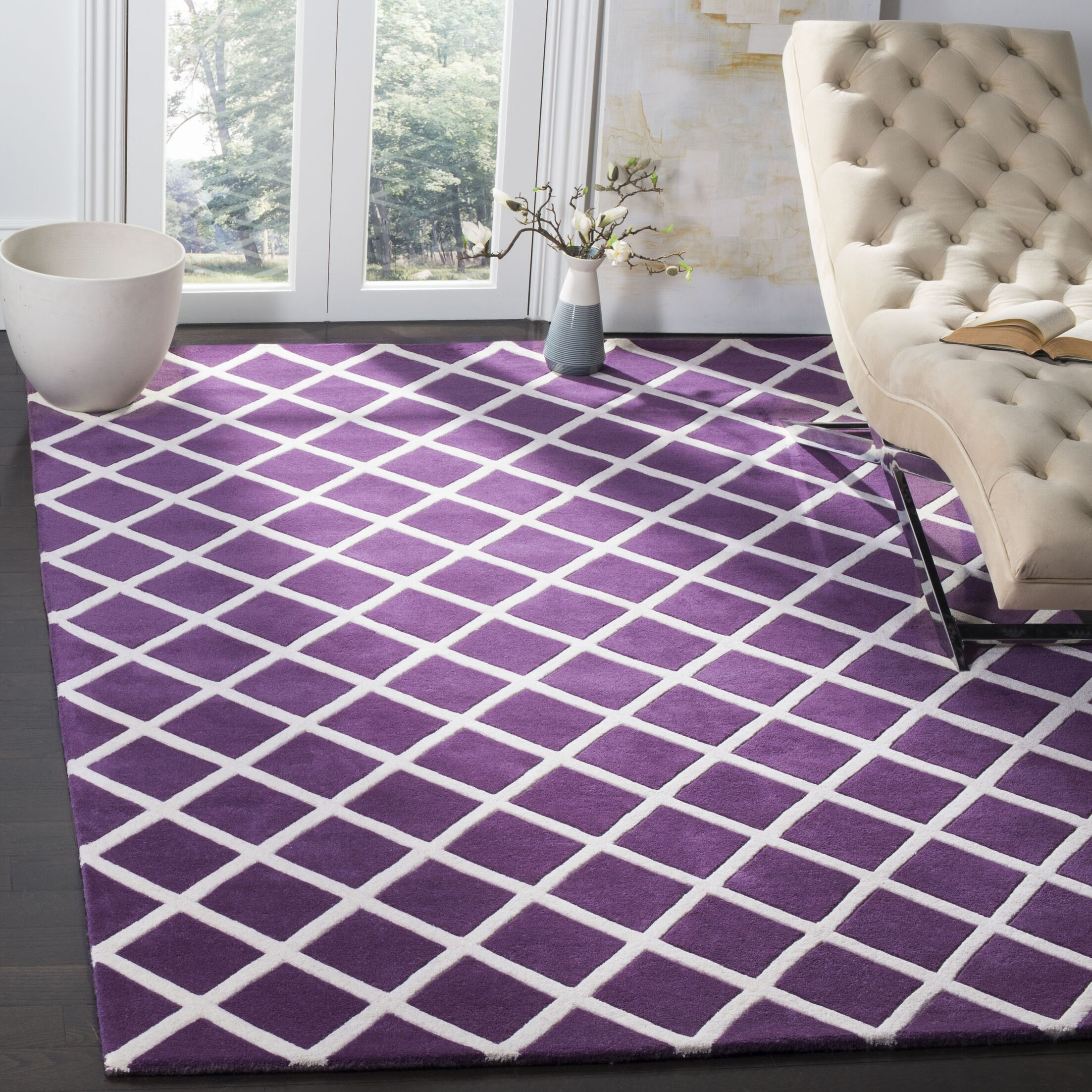 Wilkin Hand-Tufted Wool Purple/Ivory Area Rug Rug Size: Rectangle 6' x 9'