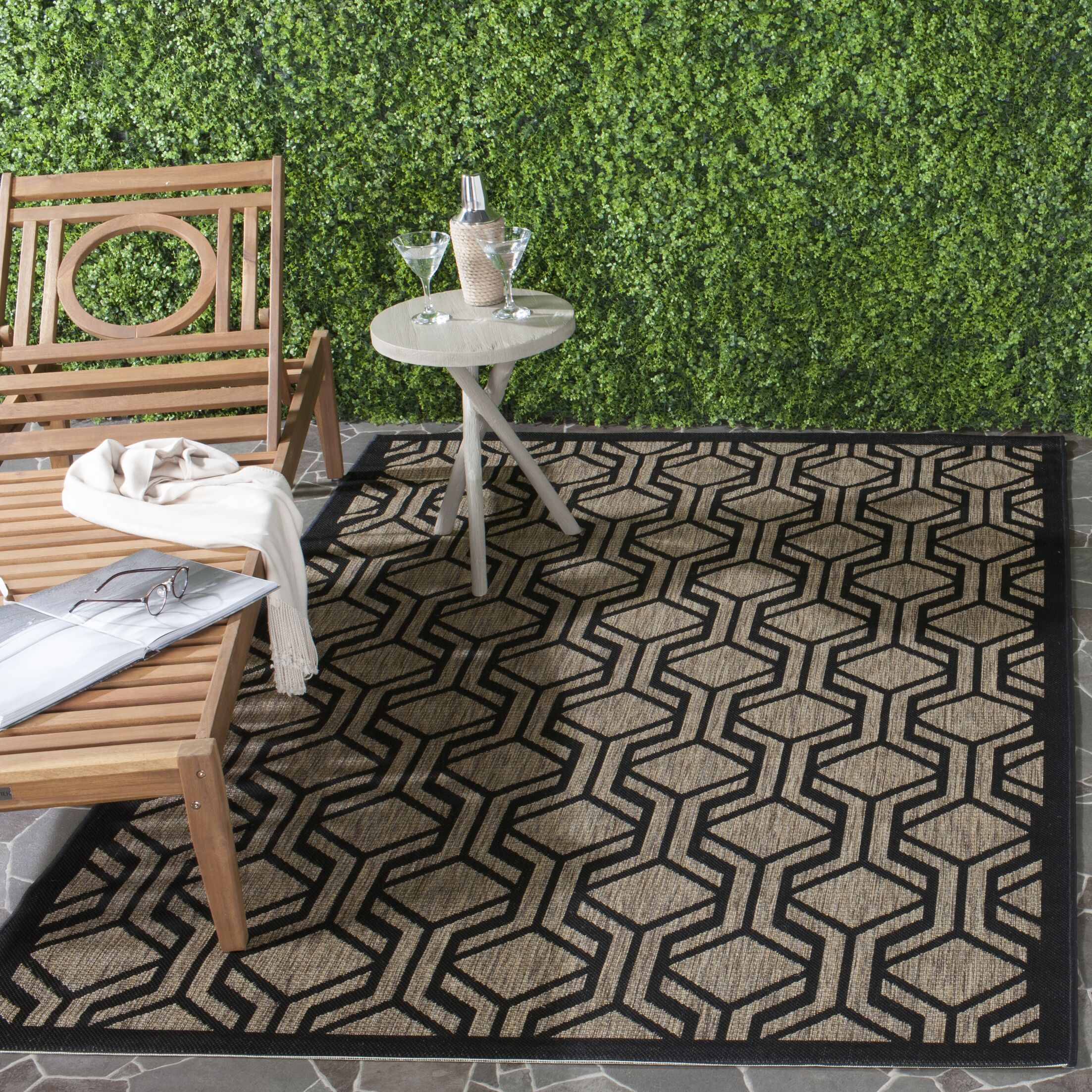 Olsene Brown/Black Indoor/Outdoor Area Rug Rug Size: Rectangle 4' x 5'7