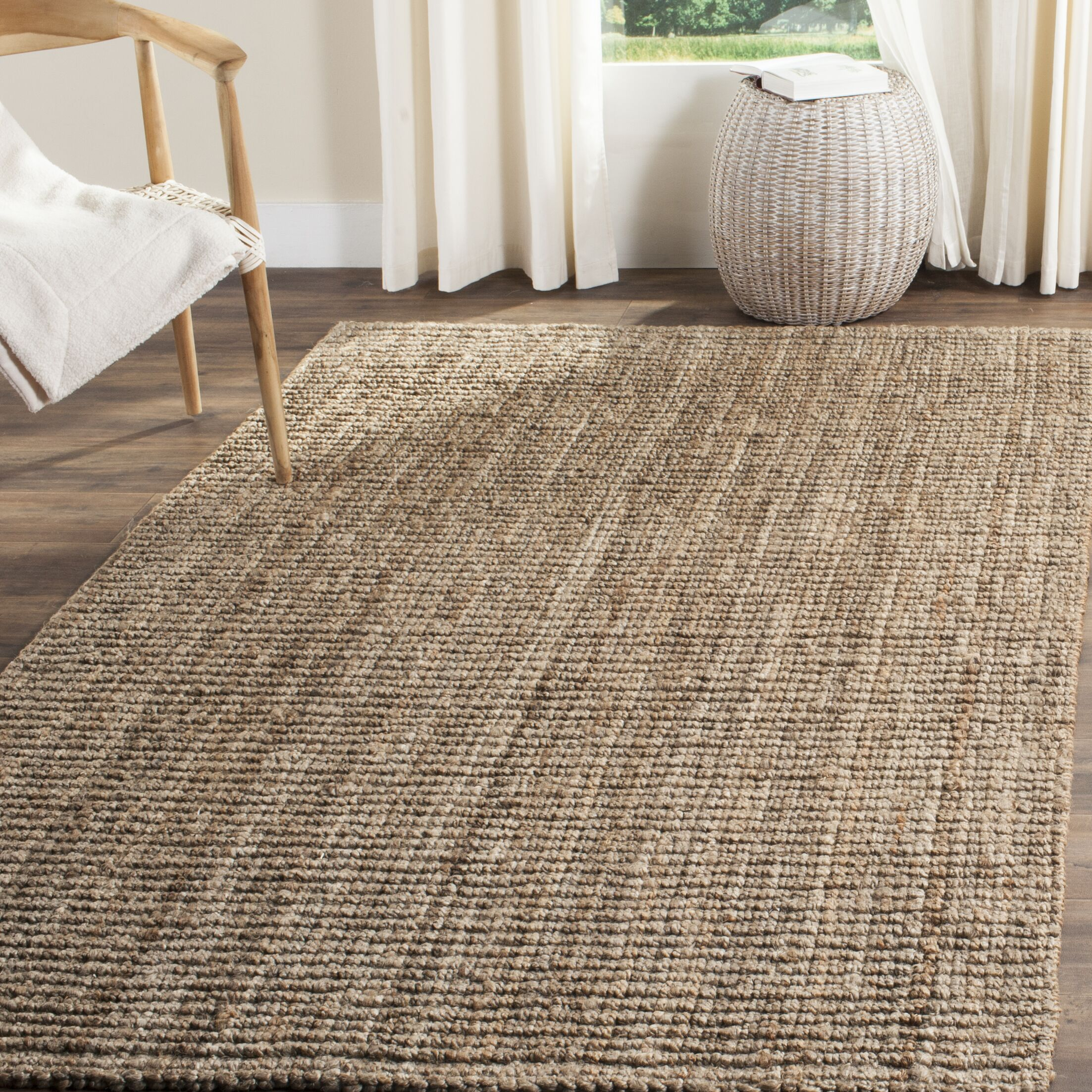 Nilles Hand-Woven Natural/Grey Area Rug Rug Size: Rectangle 8' x 10'