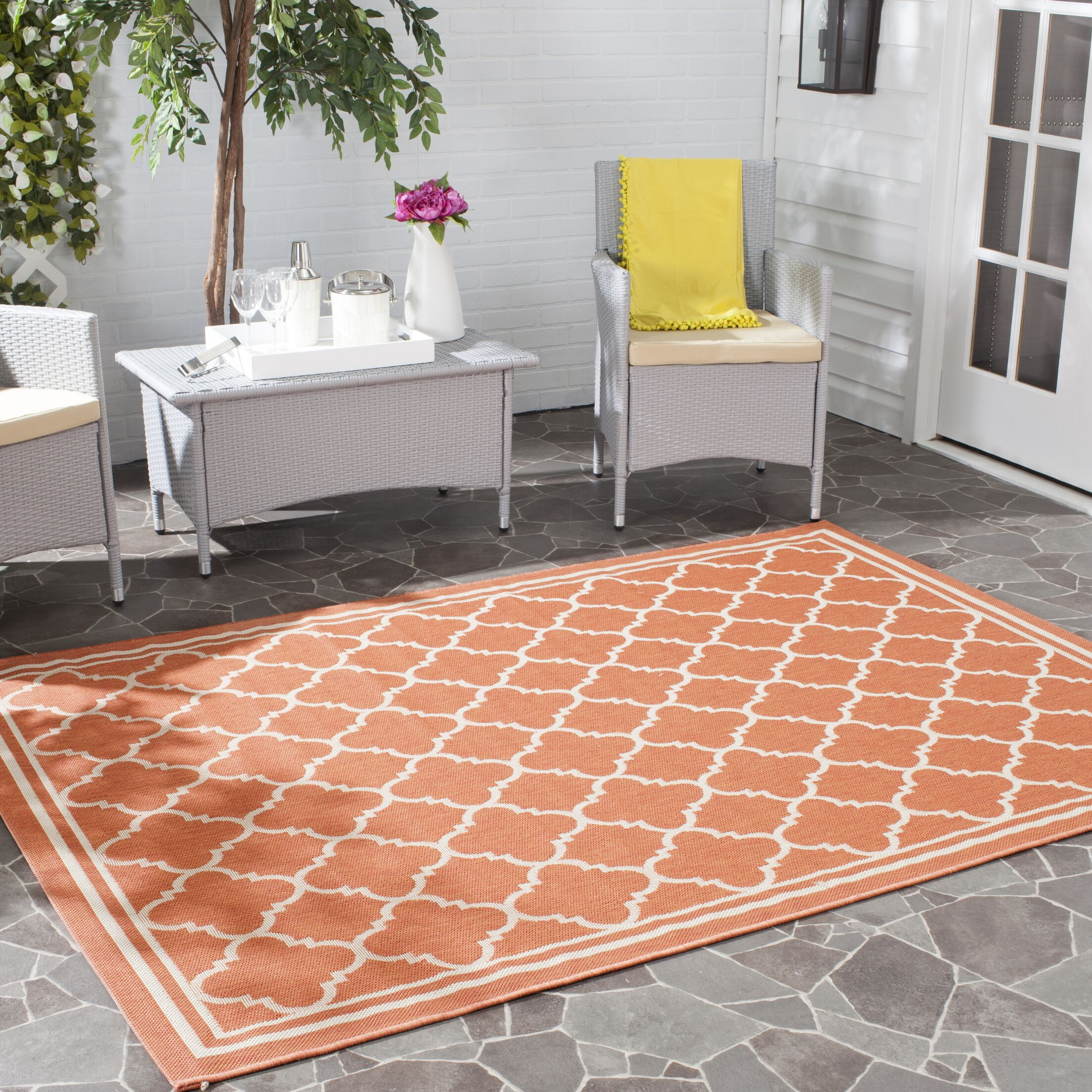 Octavius Orange Outdoor Area Rug Rug Size: Rectangle 5'3