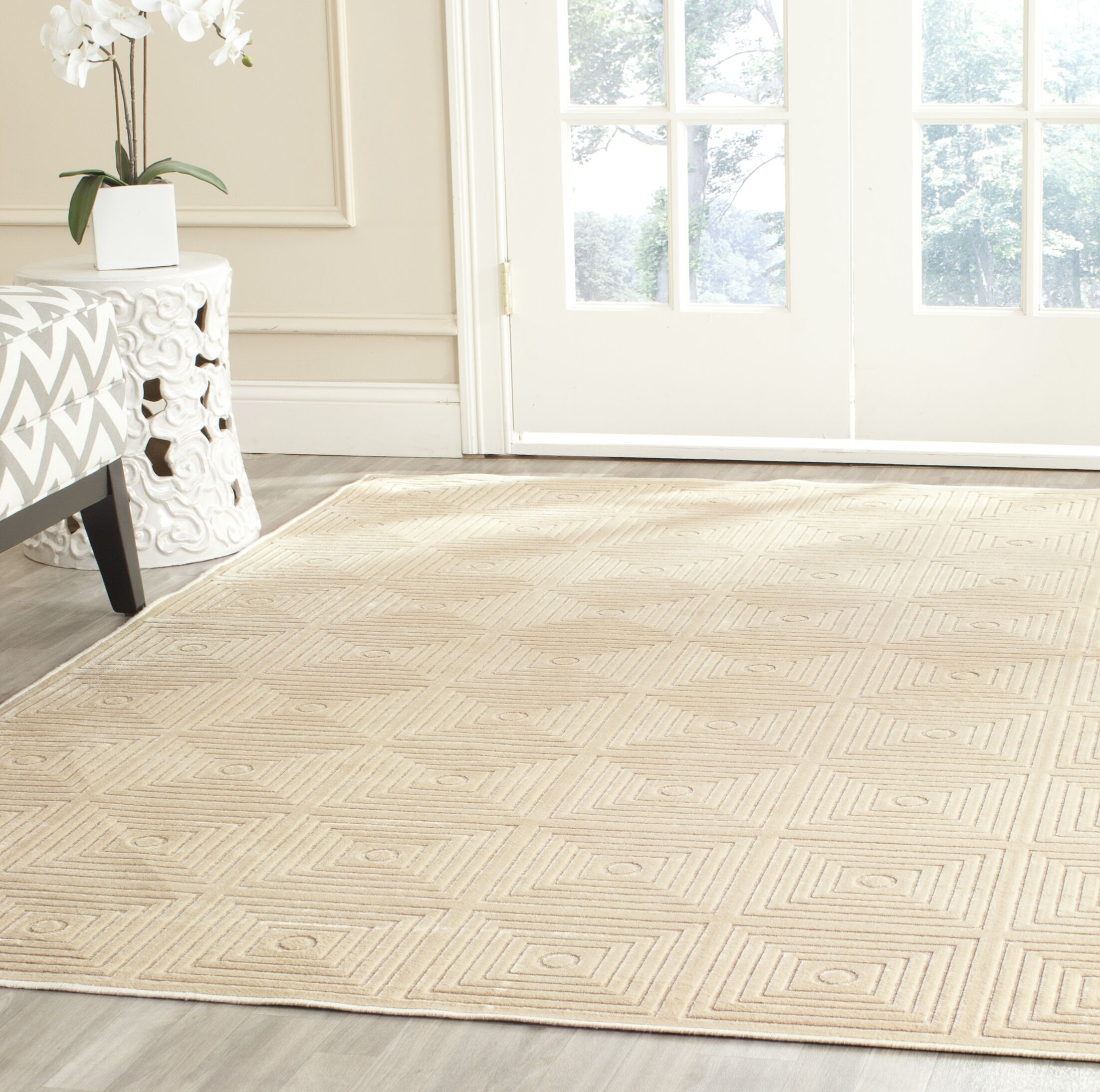 Lucian Beige Area Rug Rug Size: Rectangle 5'3