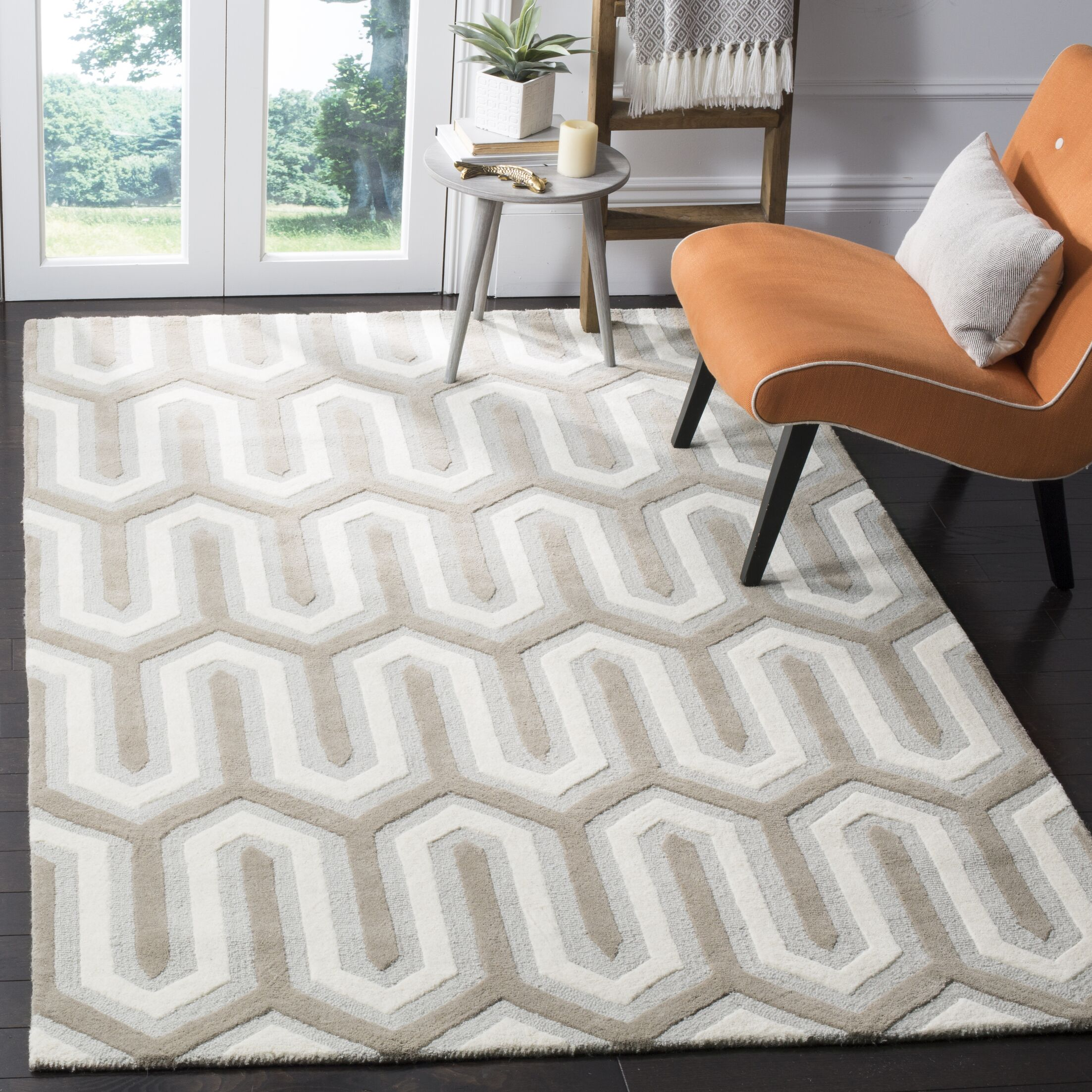 Martins Hand-Tufted Light Gray & Ivory Area Rug Rug Size: Rectangle 4' x 6'