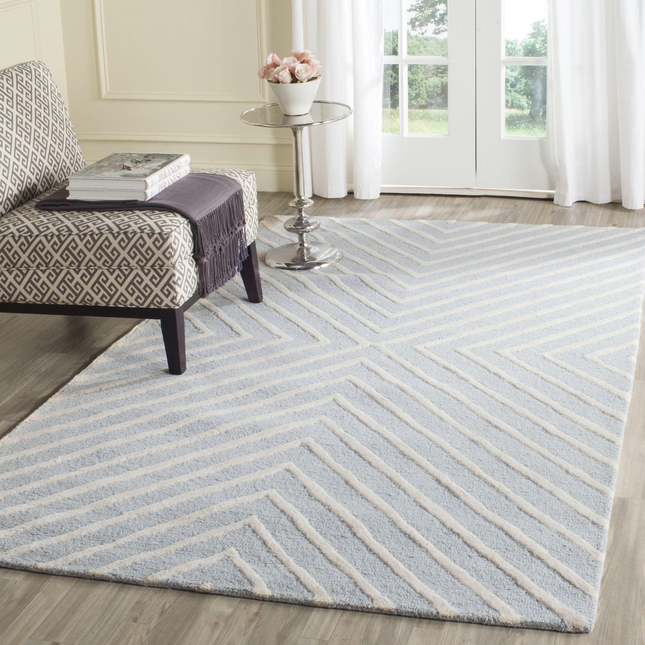 Weybridge Hand Woven Wool Light Blue/Ivory Area Rug Rug Size: Rectangle 4' x 6'