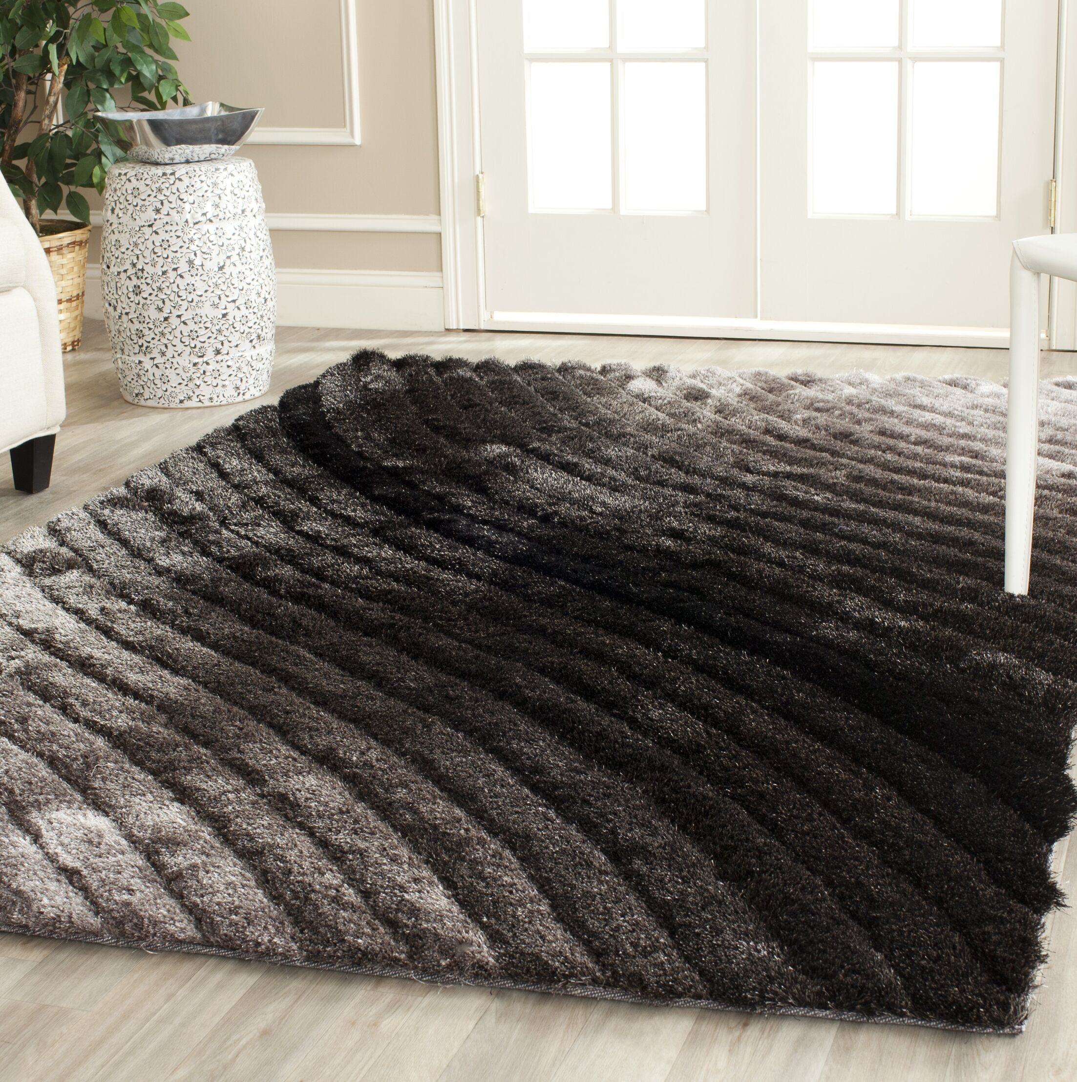 Anna Shag Hand-Tufted Silver/Gray Area Rug Rug Size: Rectangle 8' x 10'