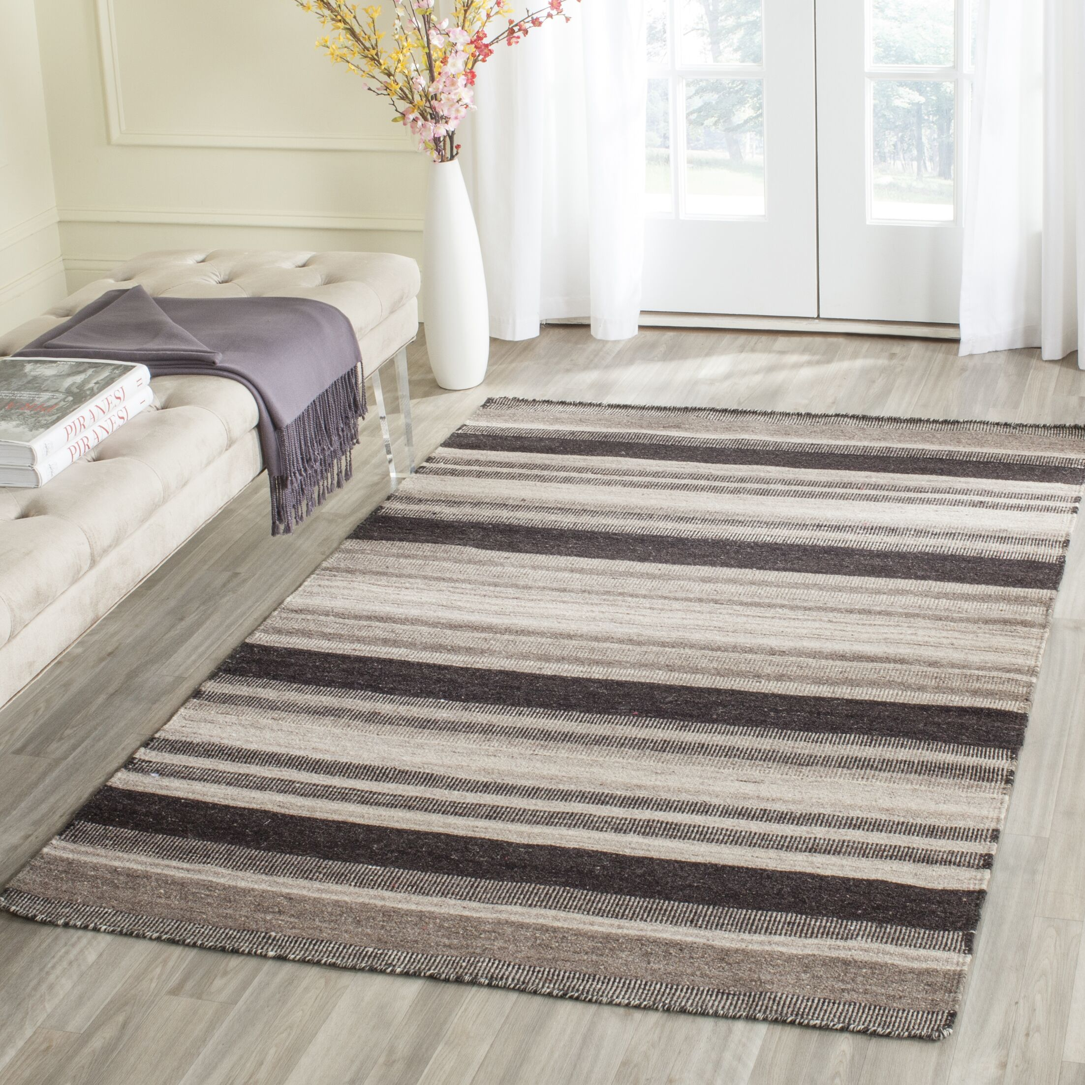 Dhurries Brown/Ivory Area Rug Rug Size: Rectangle 5' x 8'