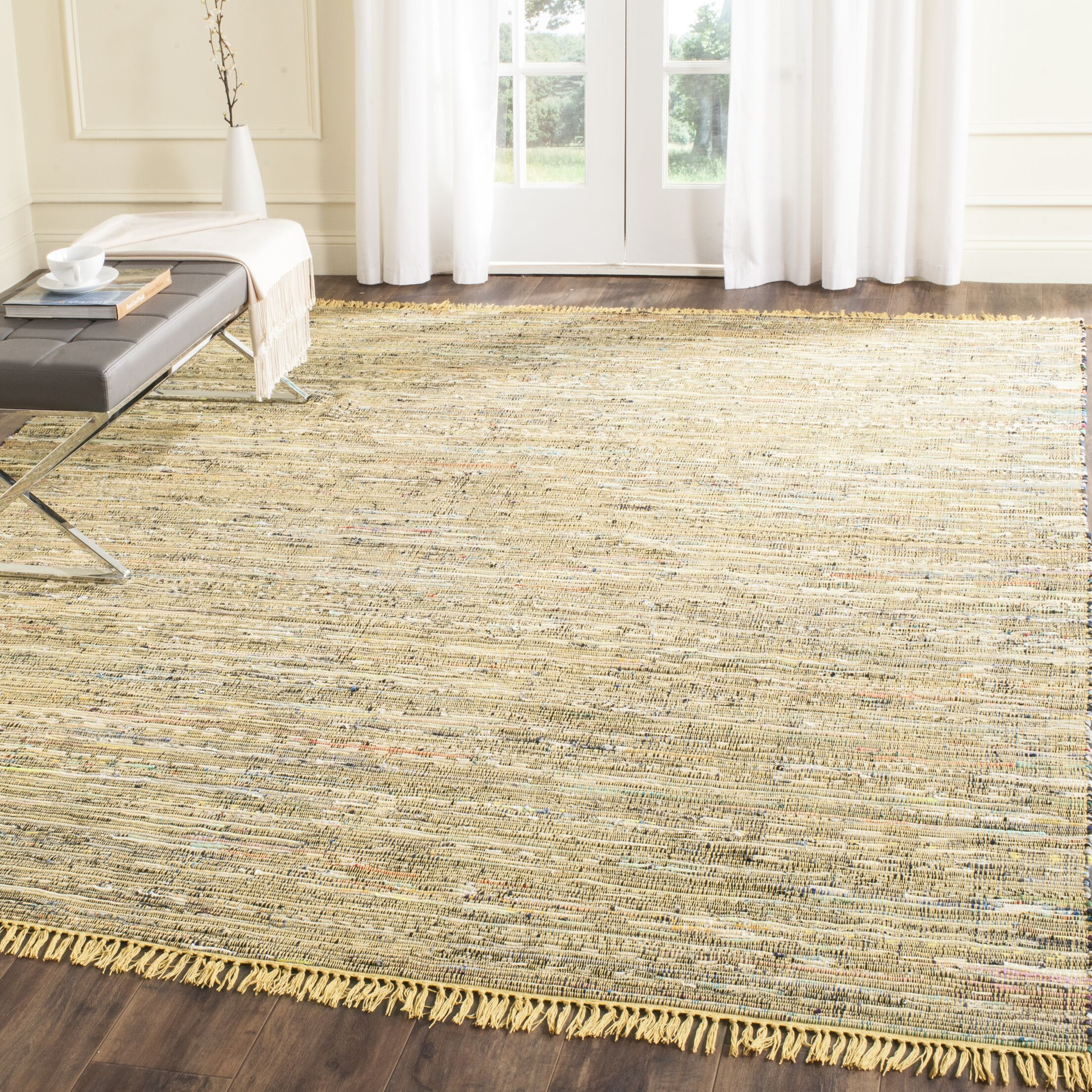 Kellerman Contemporary Hand-Woven Cotton Yellow Area Rug Rug Size: Rectangle 6' x 9'