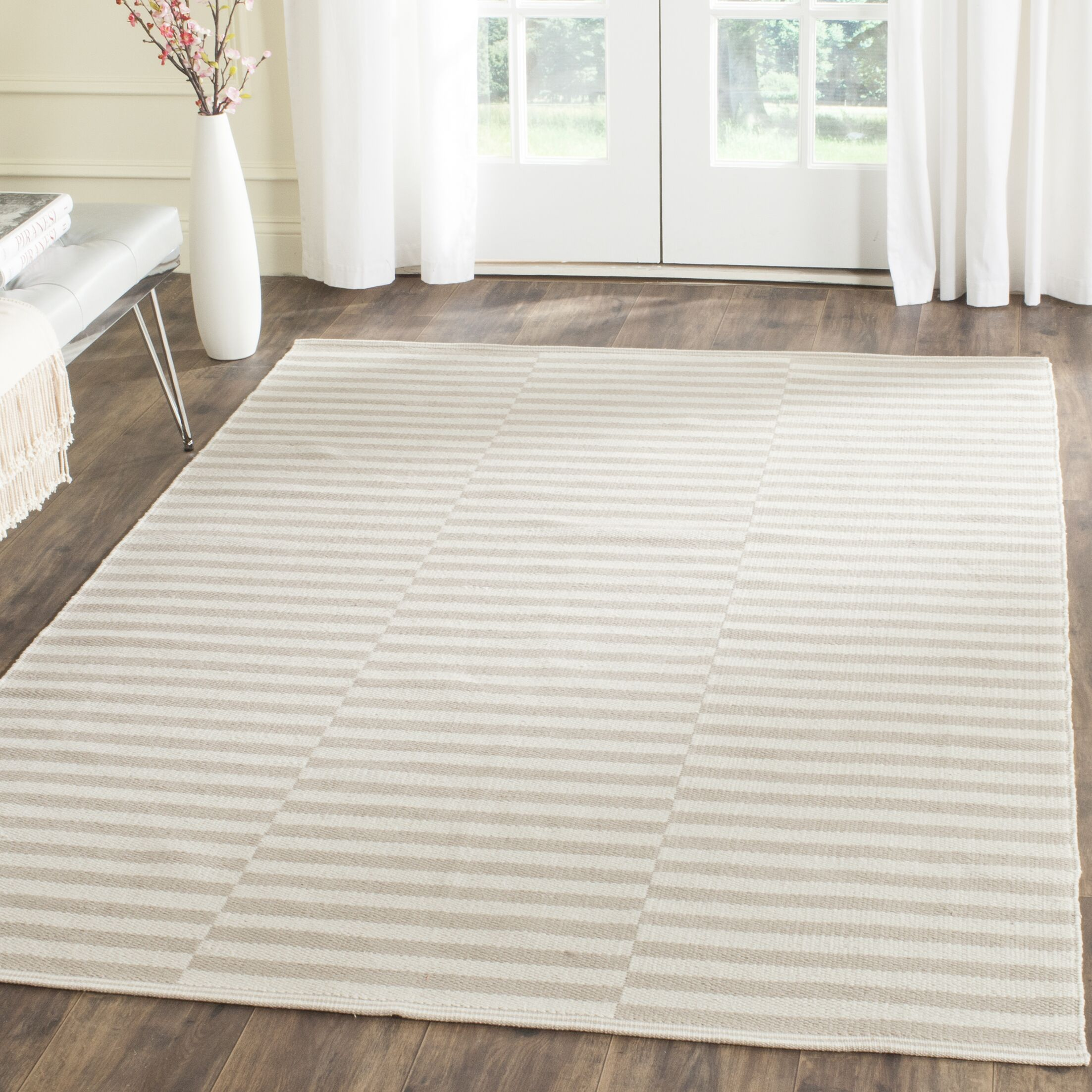 Orwell Hand-Woven Cotton Ivory/Light Gray Area Rug Rug Size: Rectangle 5' x 7'