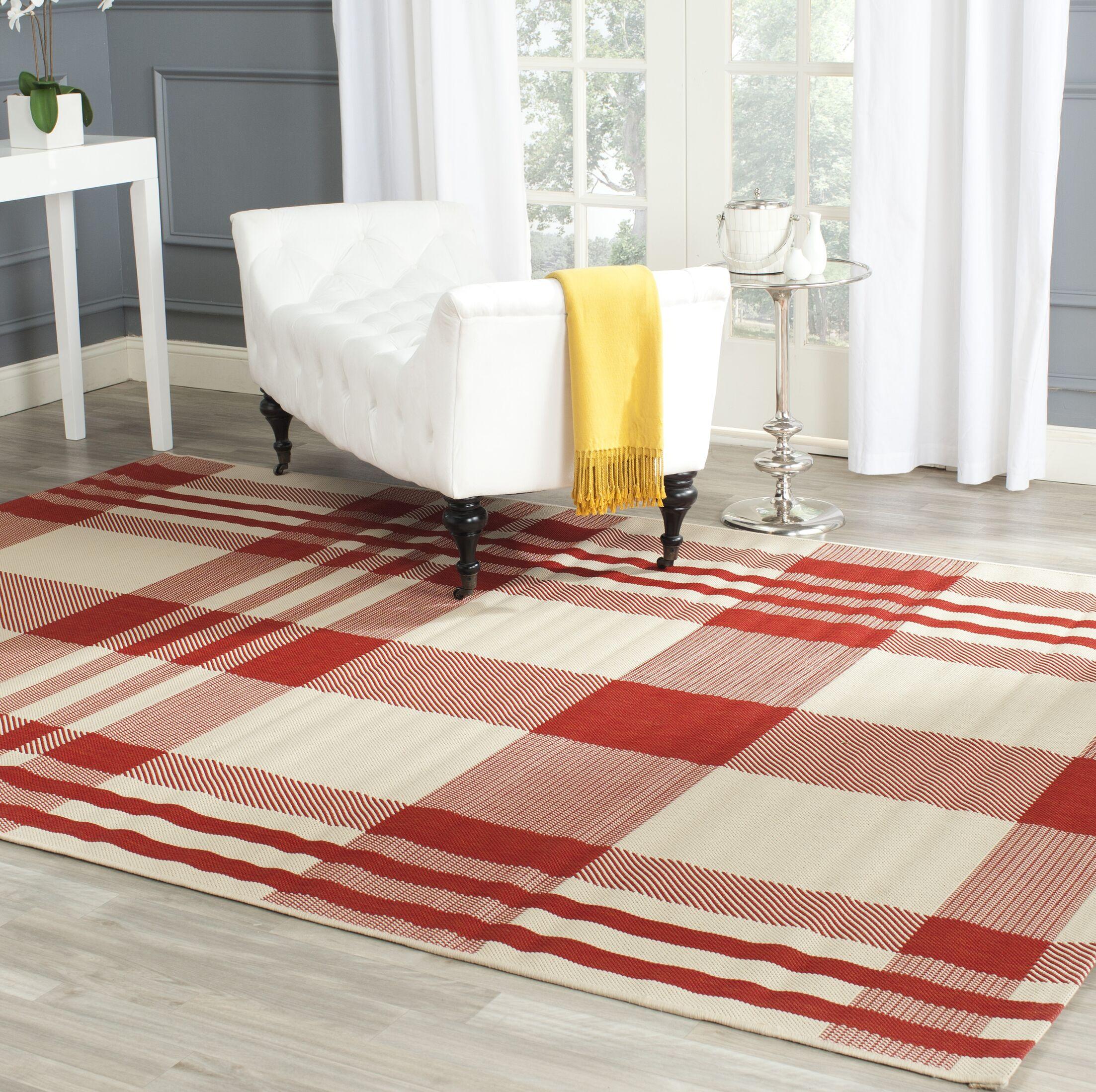 Laurel Red/Bone Indoor/Outdoor Area Rug Rug Size: Rectangle 5'3