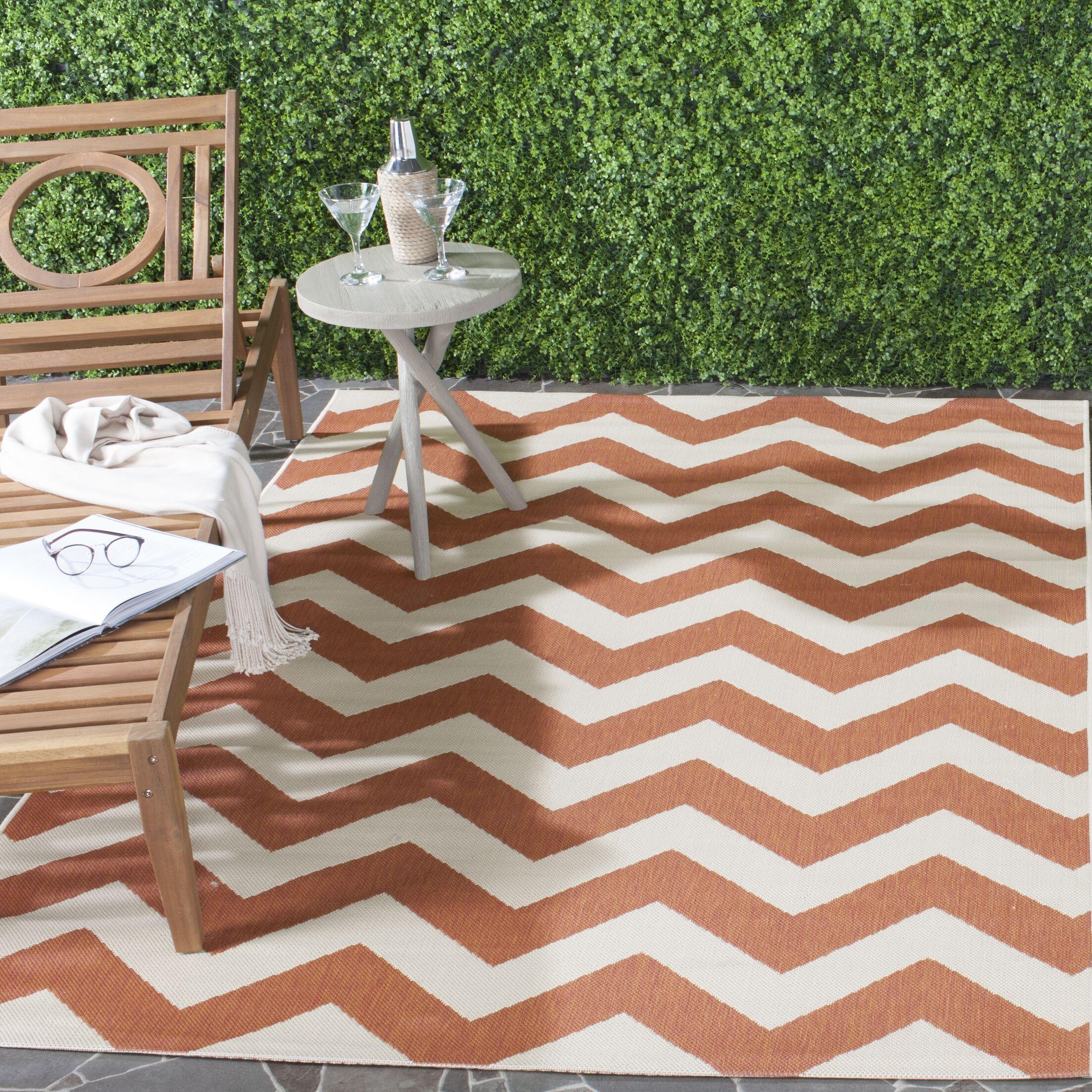 Mullen Terracotta/Beige Indoor/Outdoor Area Rug Rug Size: Rectangle 5'3