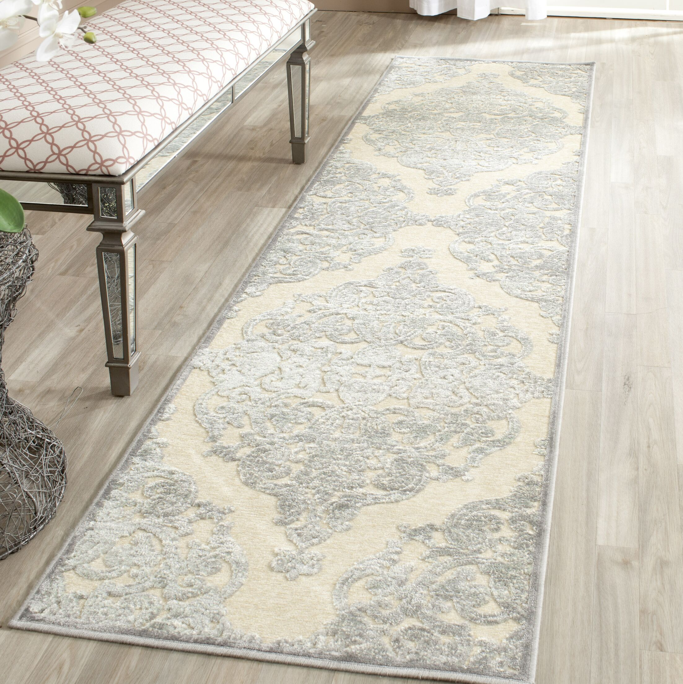Maspeth Gray/Ivory Area Rug Rug Size: Runner 2'2