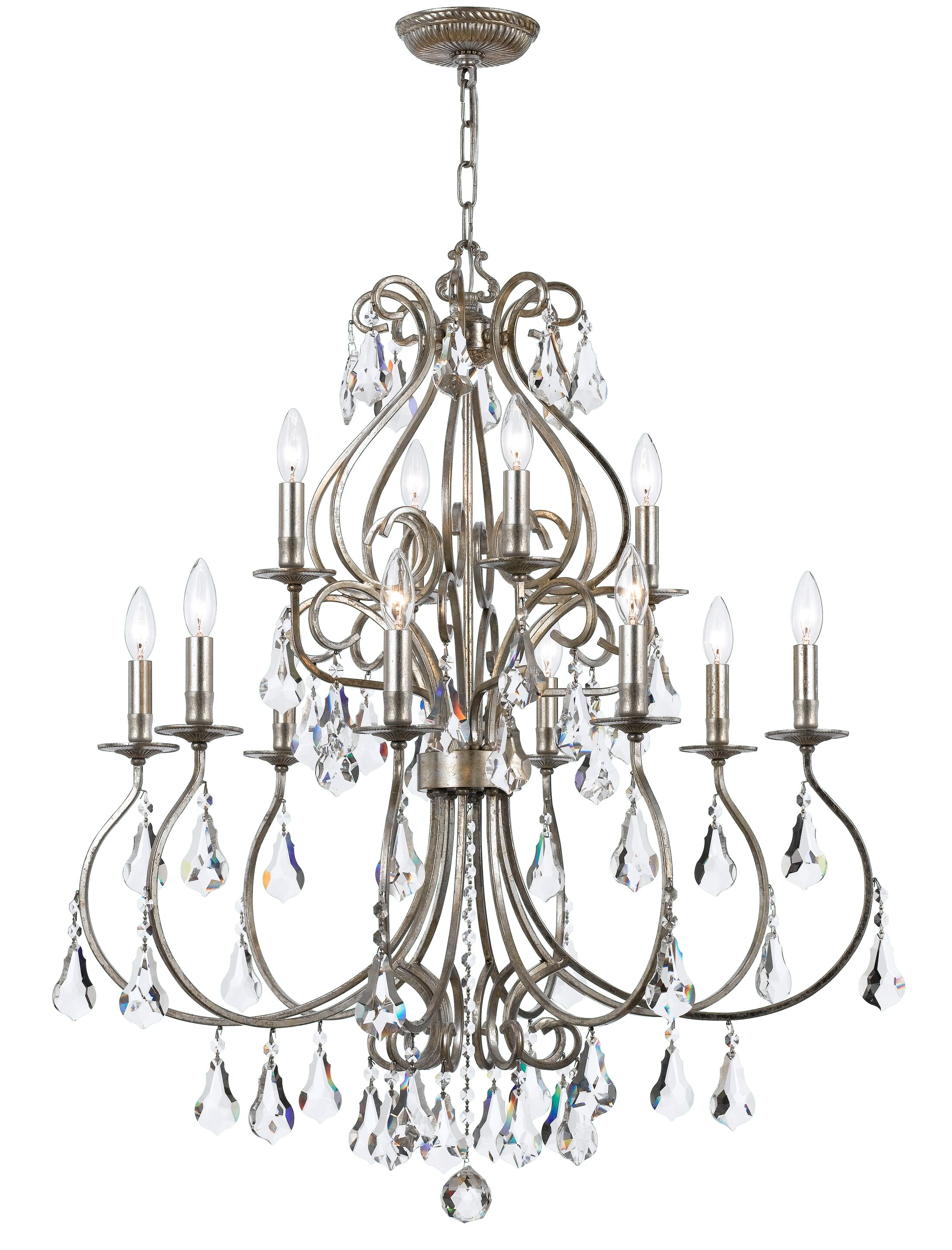 Shaughnessy 12-Light Candle Style Chandelier Finish: Olde Silver